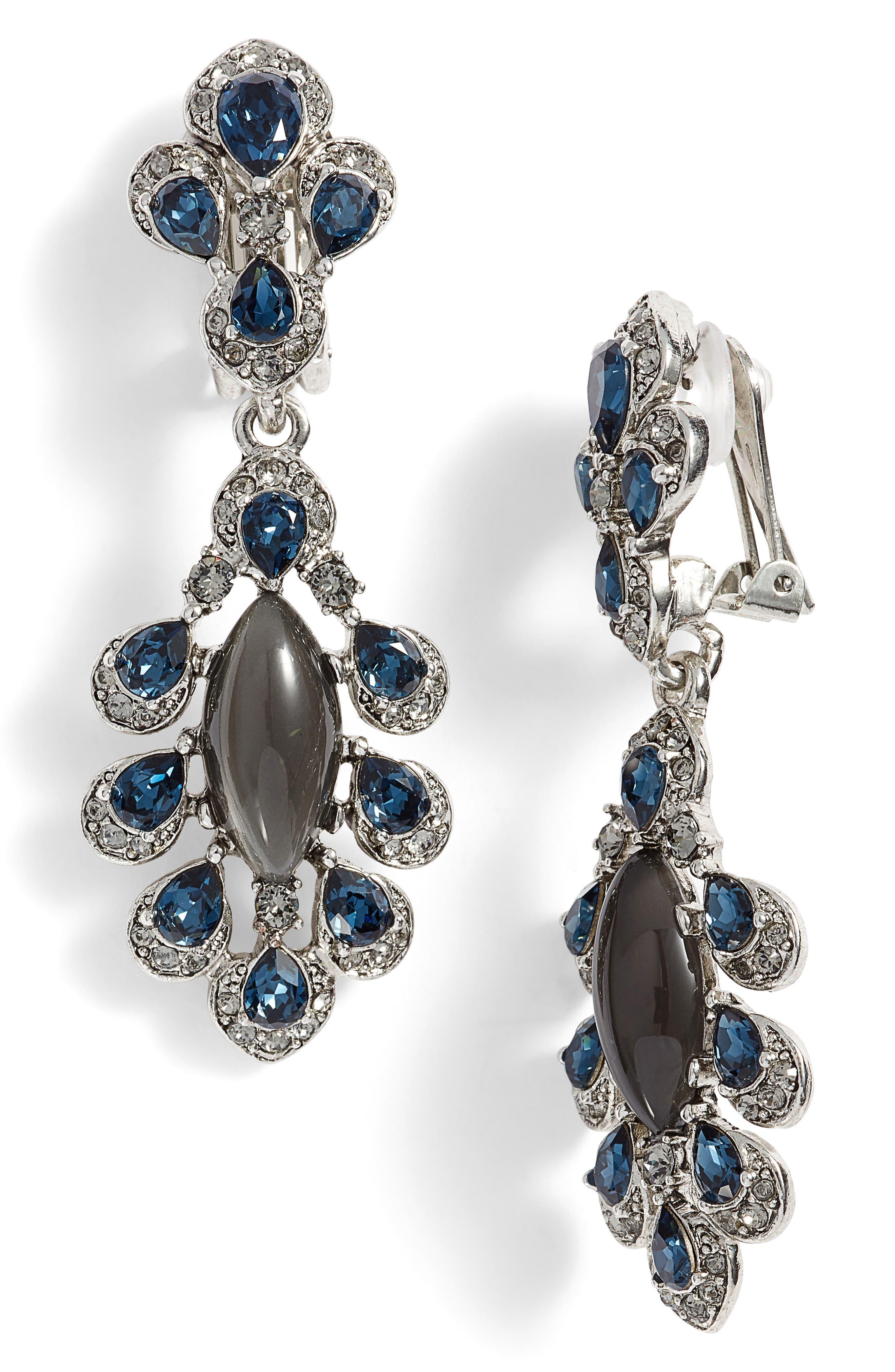 Oscar de la Renta Parlor Crystal Clip Earrings