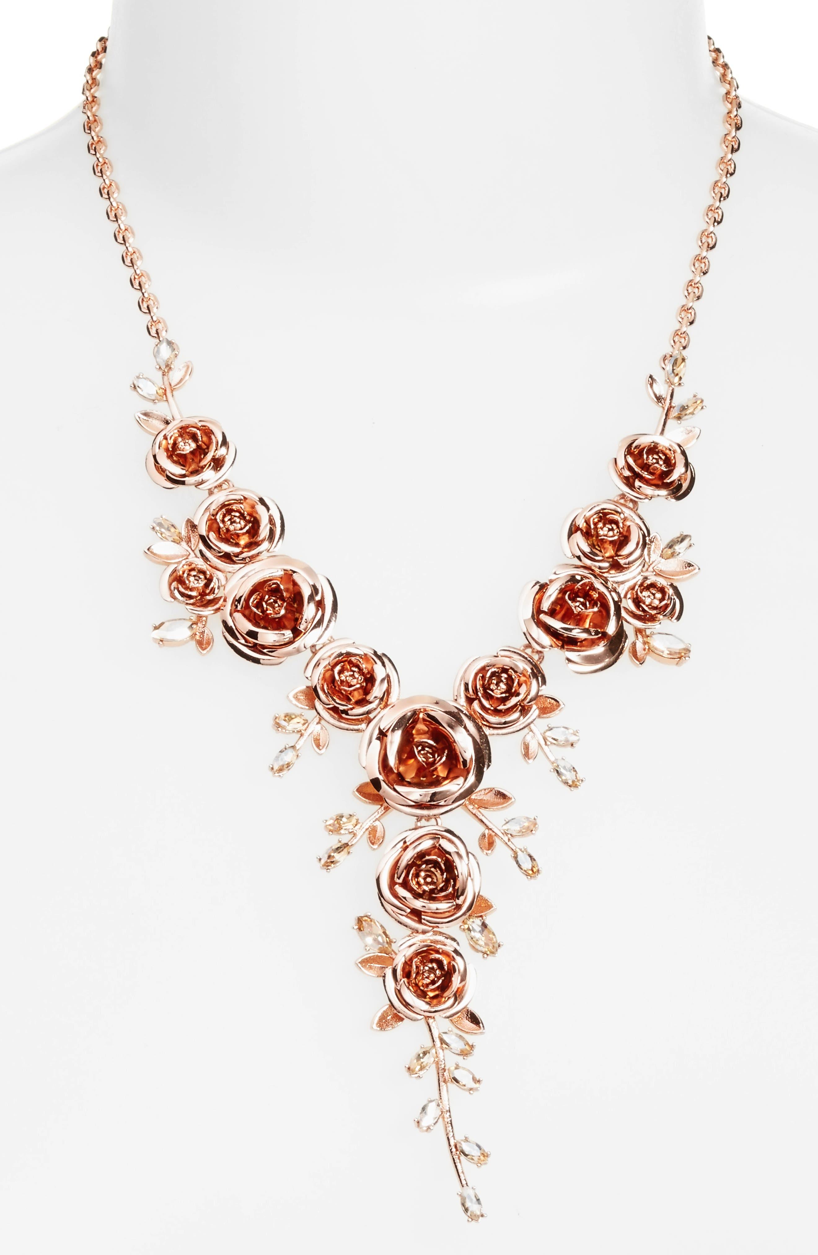 garden garland y-necklace,                         Main,                         color, Rose Gold