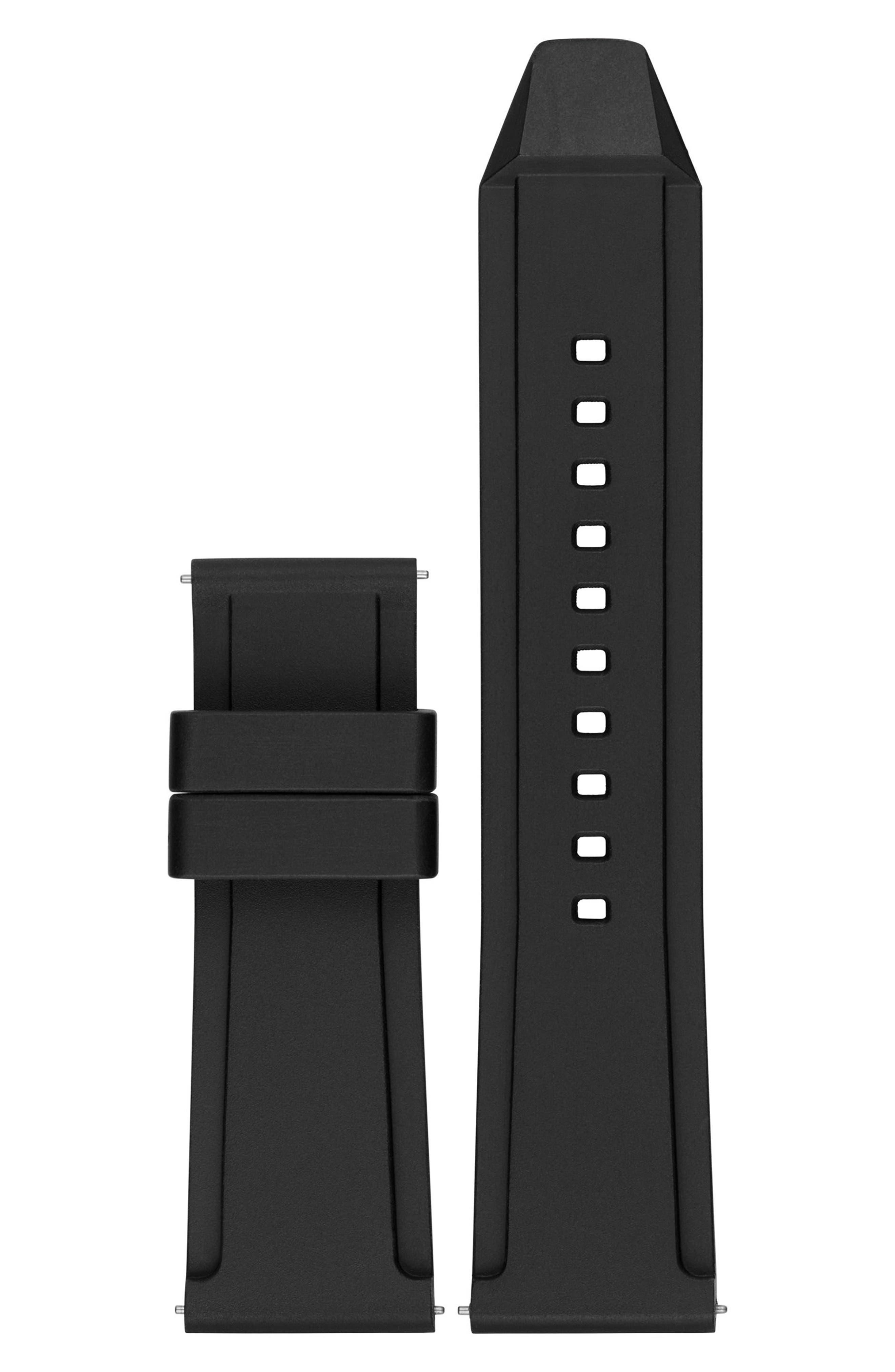 Grayson 24mm Silicone Watch Strap,                         Main,                         color, Black