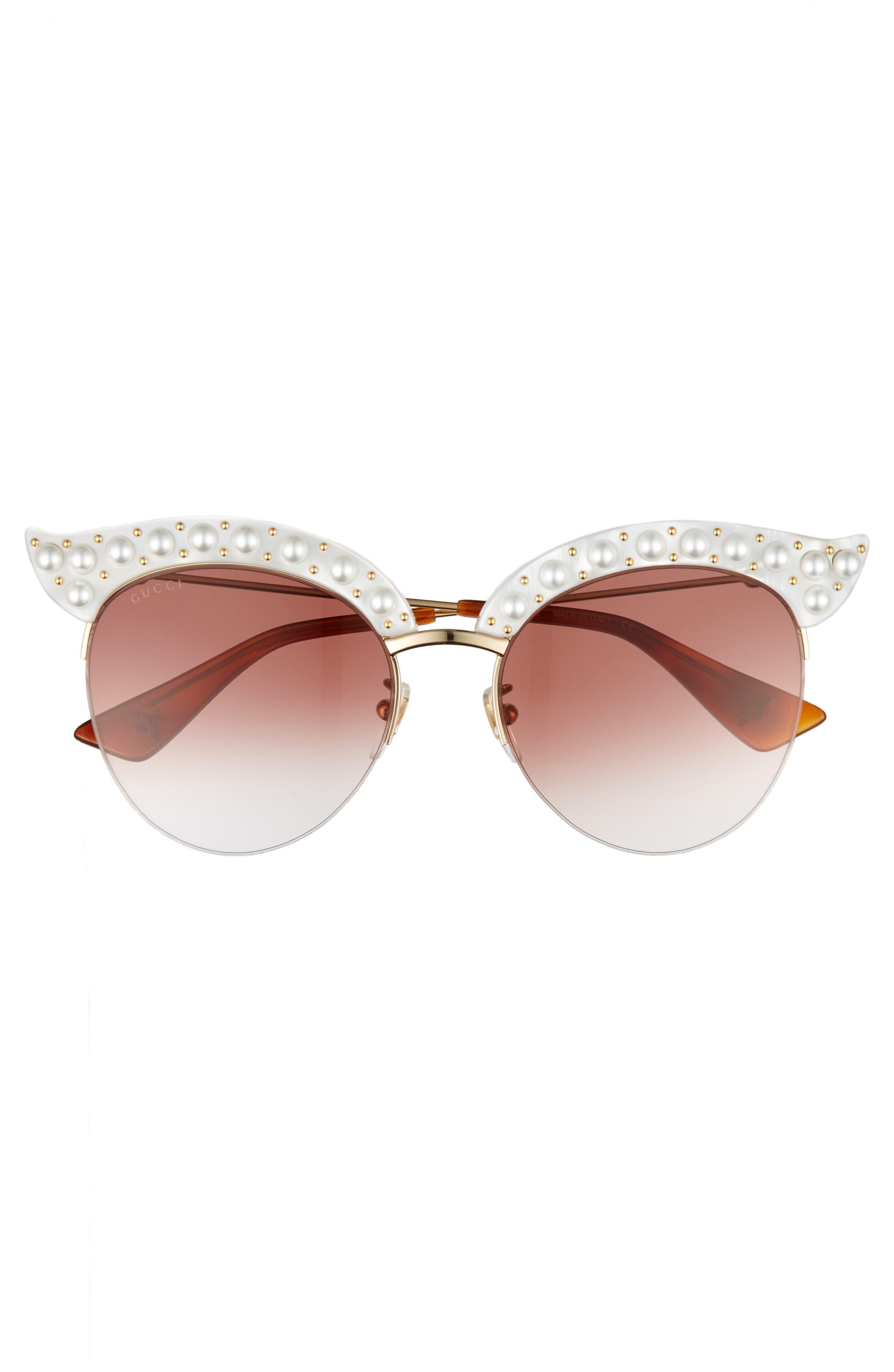 53mm Embellished Cat Eye Sunglasses,                             Alternate thumbnail 3, color,                             White