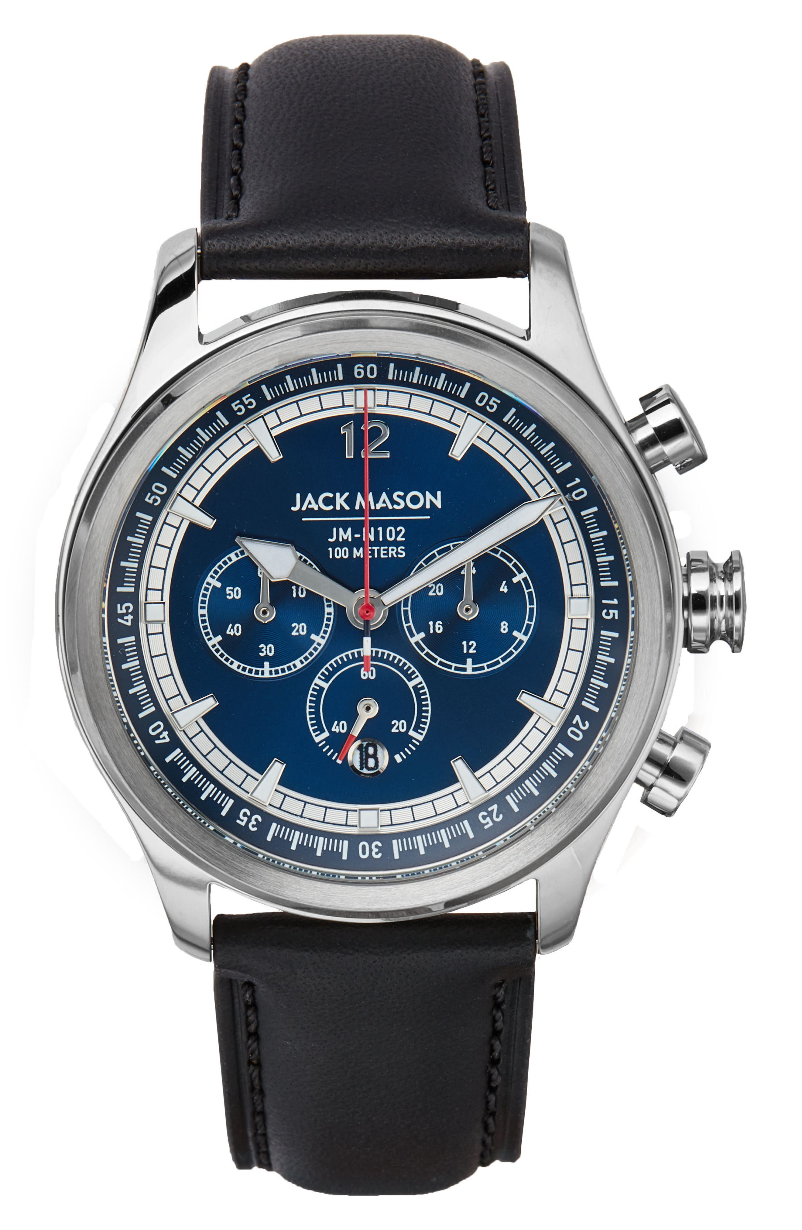Nautical Chronograph Leather Strap Watch, 42mm,                         Main,                         color, Navy/ Black
