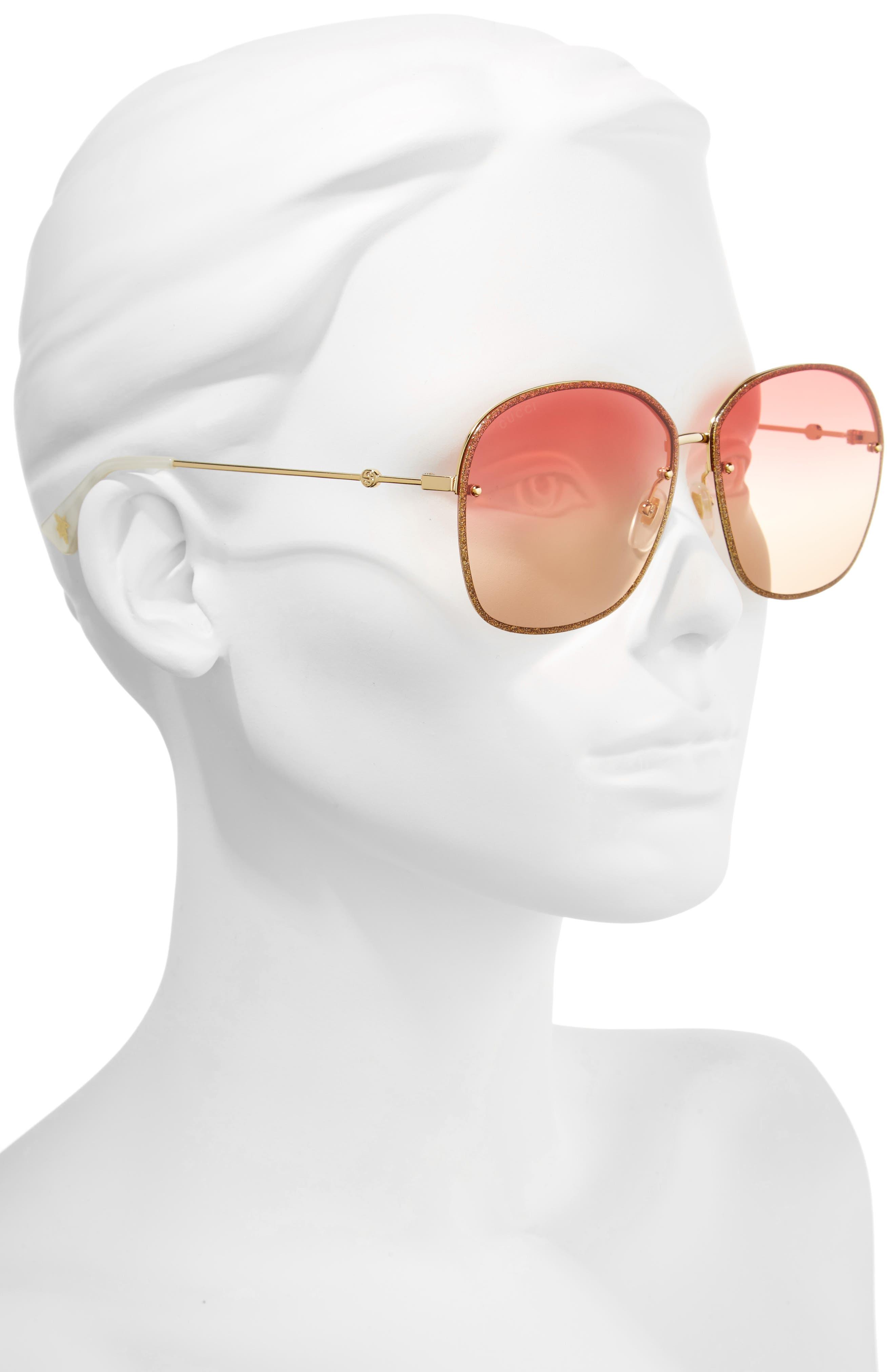 Alternate Image 2  - Gucci 63mm Oversize Square Sunglasses