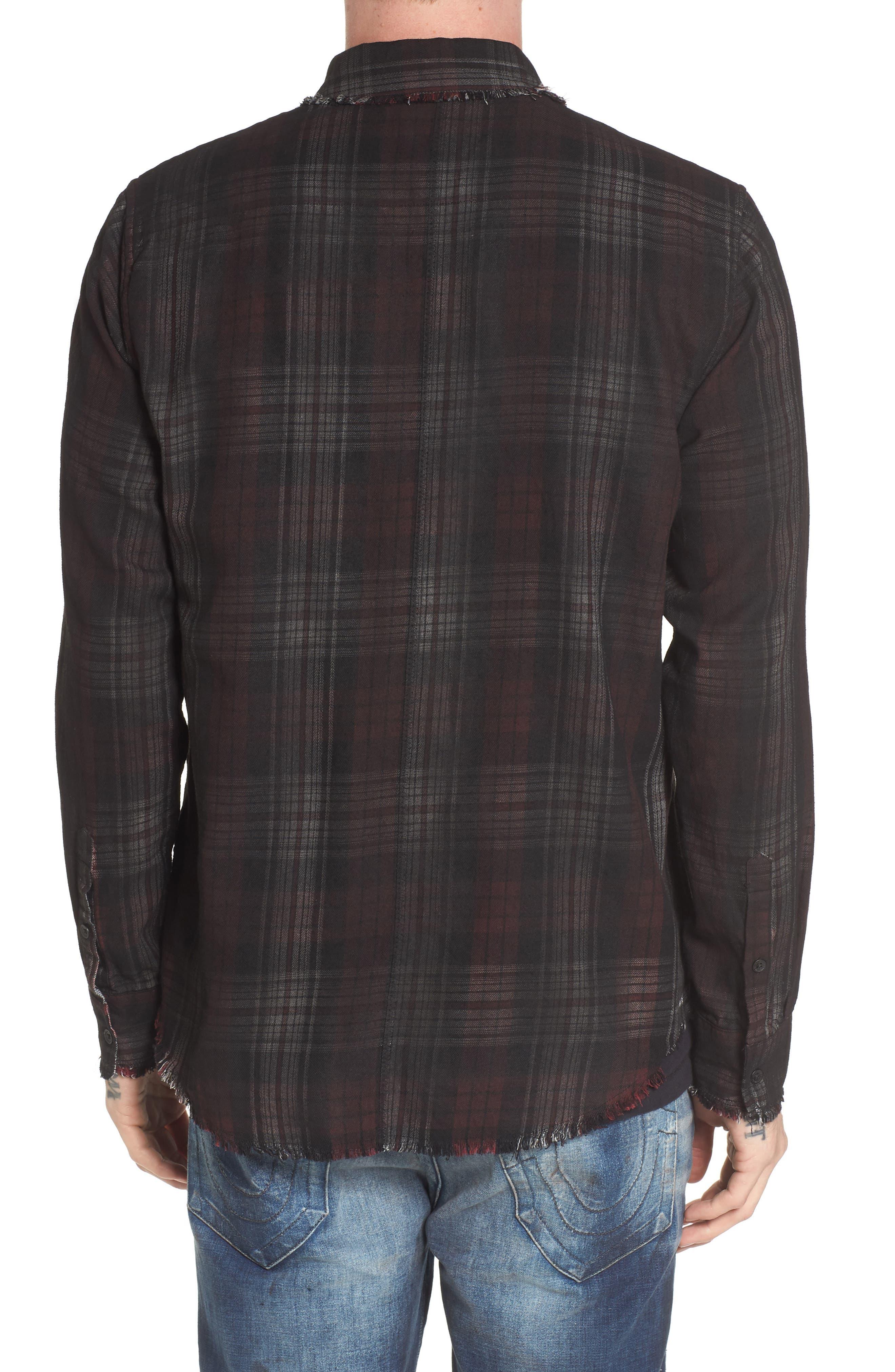 Coated Punk Woven Shirt,                             Alternate thumbnail 2, color,                             Oxblood Plaid