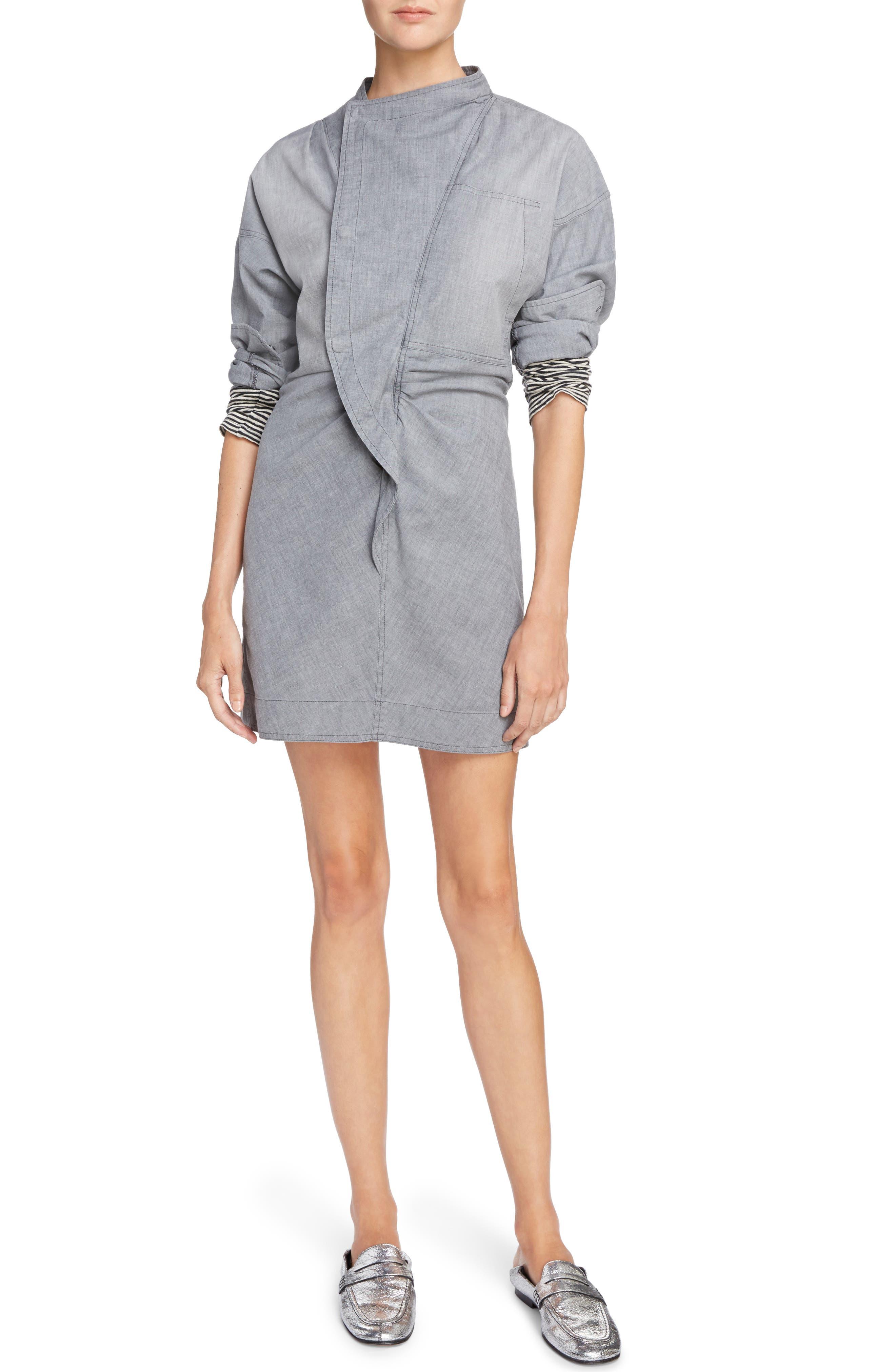 Isabel Marant Étoile Lindsey Chambray Dress,                         Main,                         color, Grey