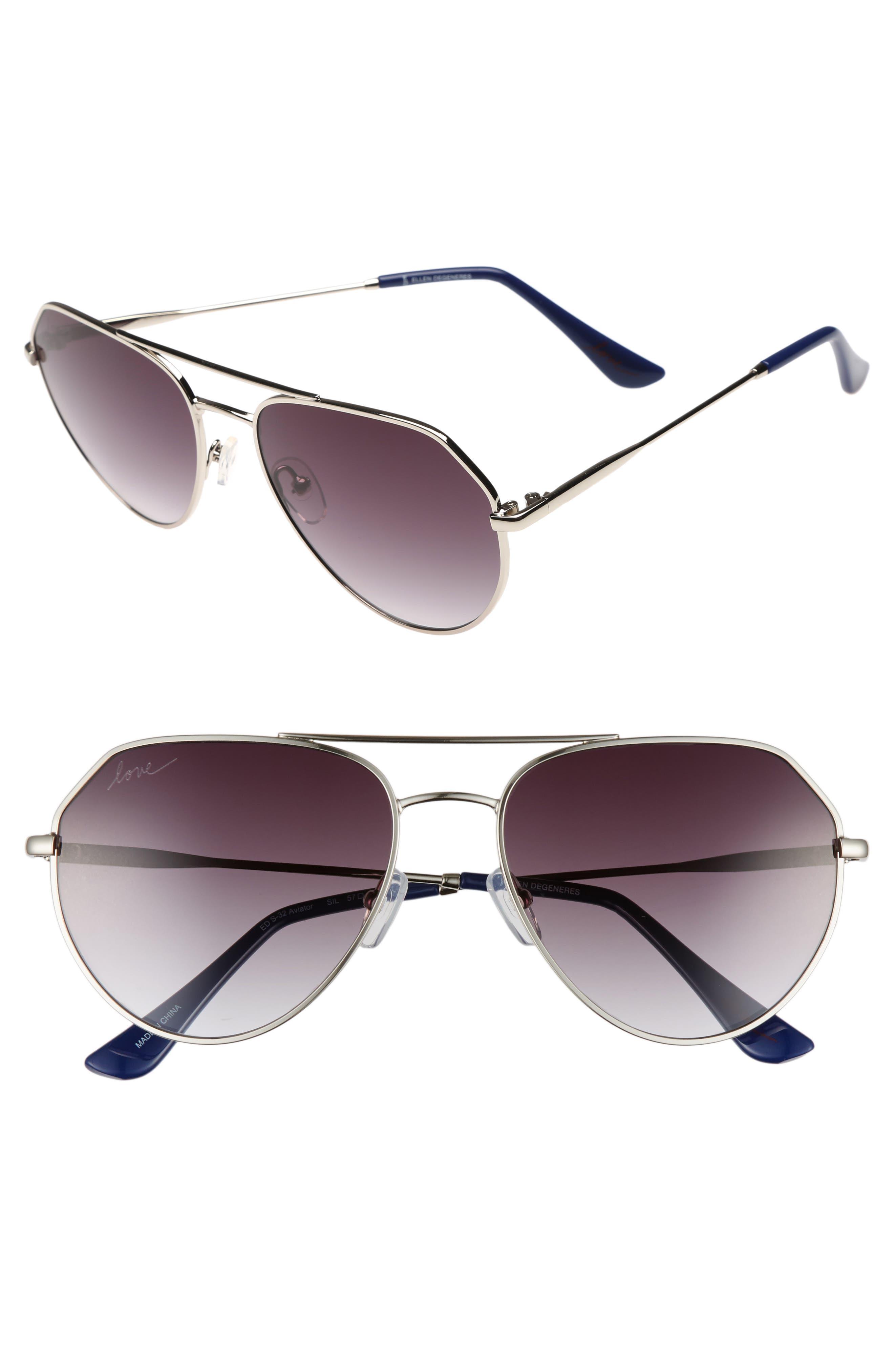 ED Ellen DeGeneres 57mm Aviator Sunglasses