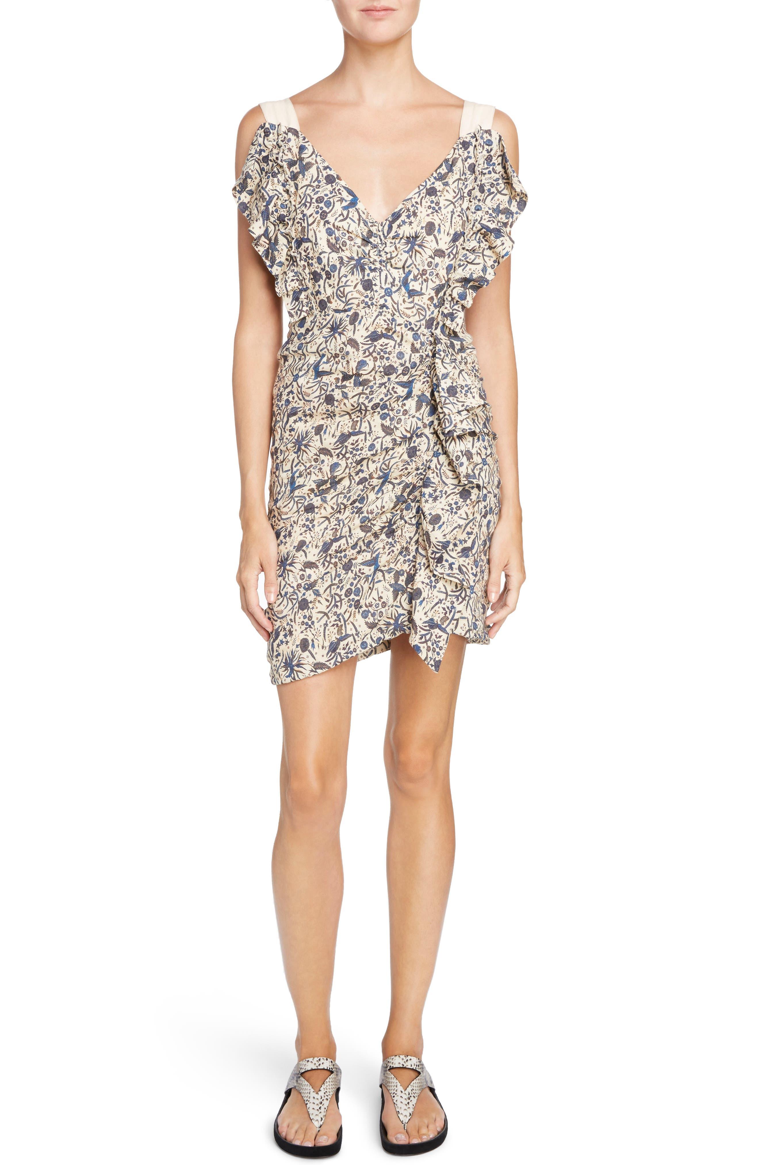 Isabel Marant Étoile Topaz Print Linen Dress,                         Main,                         color, Beige