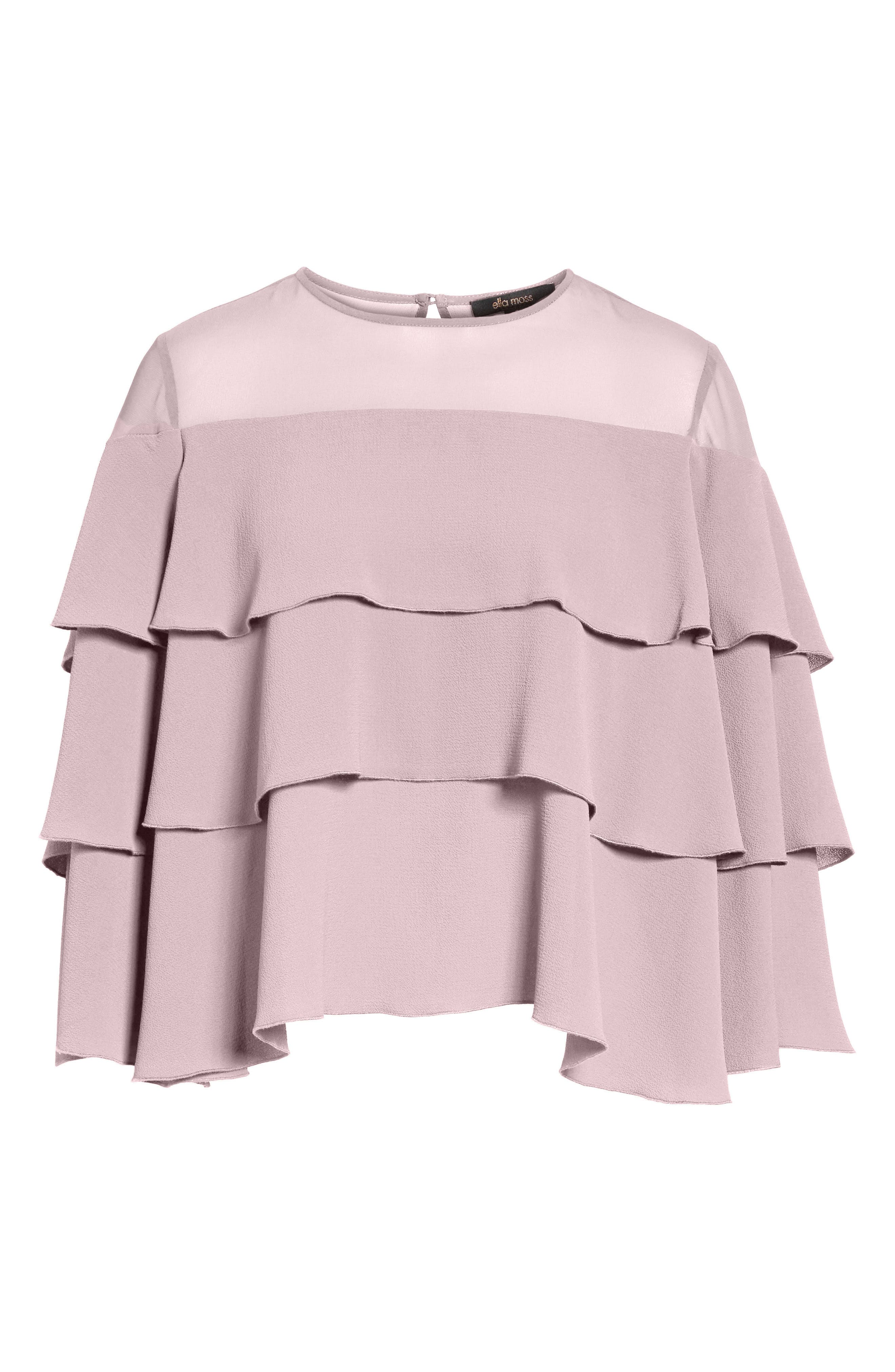 Medena Tiered Ruffle Top,                             Alternate thumbnail 6, color,                             Pale Lavender