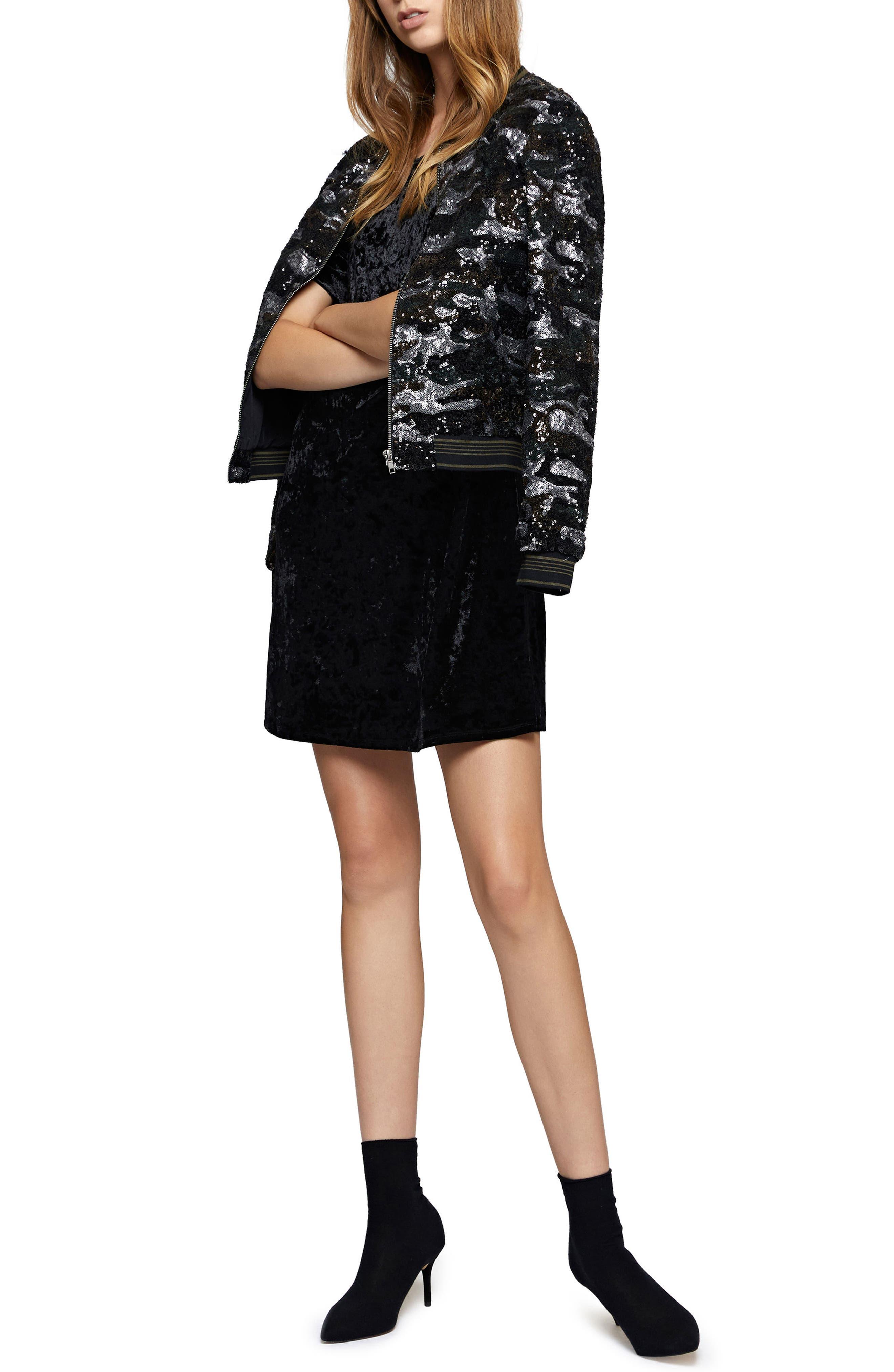 Night Slayer Cold Shoulder Velvet Dress,                             Alternate thumbnail 3, color,                             Black