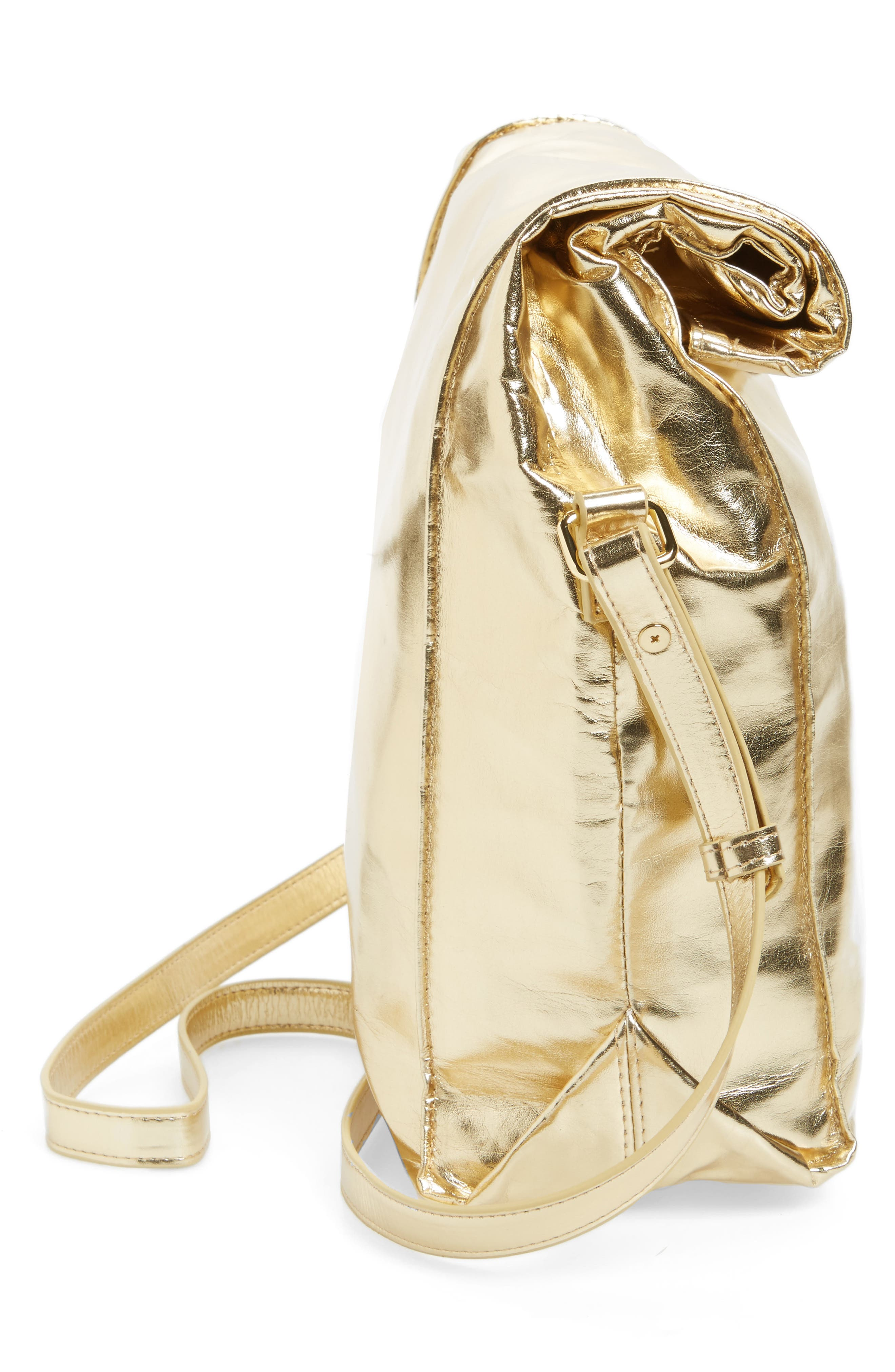 Crossbody Lunch Bag,                             Alternate thumbnail 5, color,                             Metallic Gold