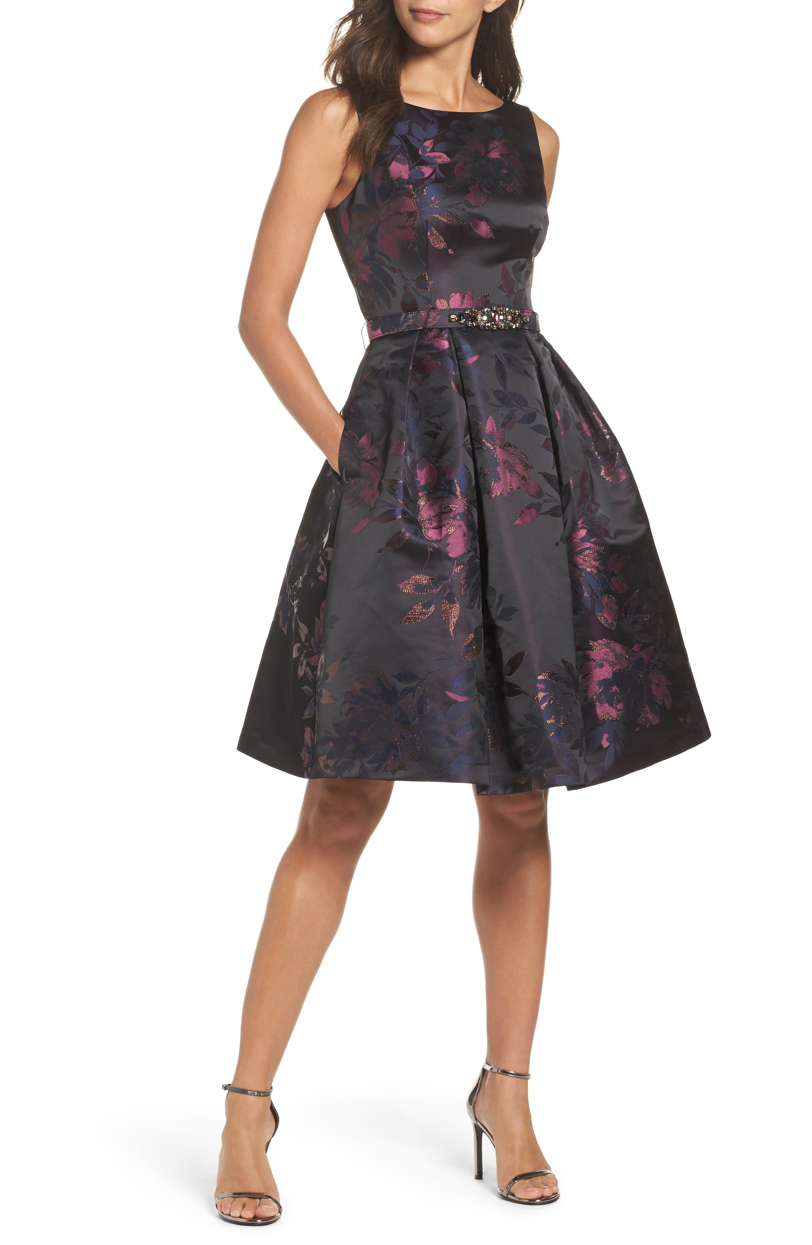 Brocade Fit & Flare Dress,                         Main,                         color, Navy/ Pink