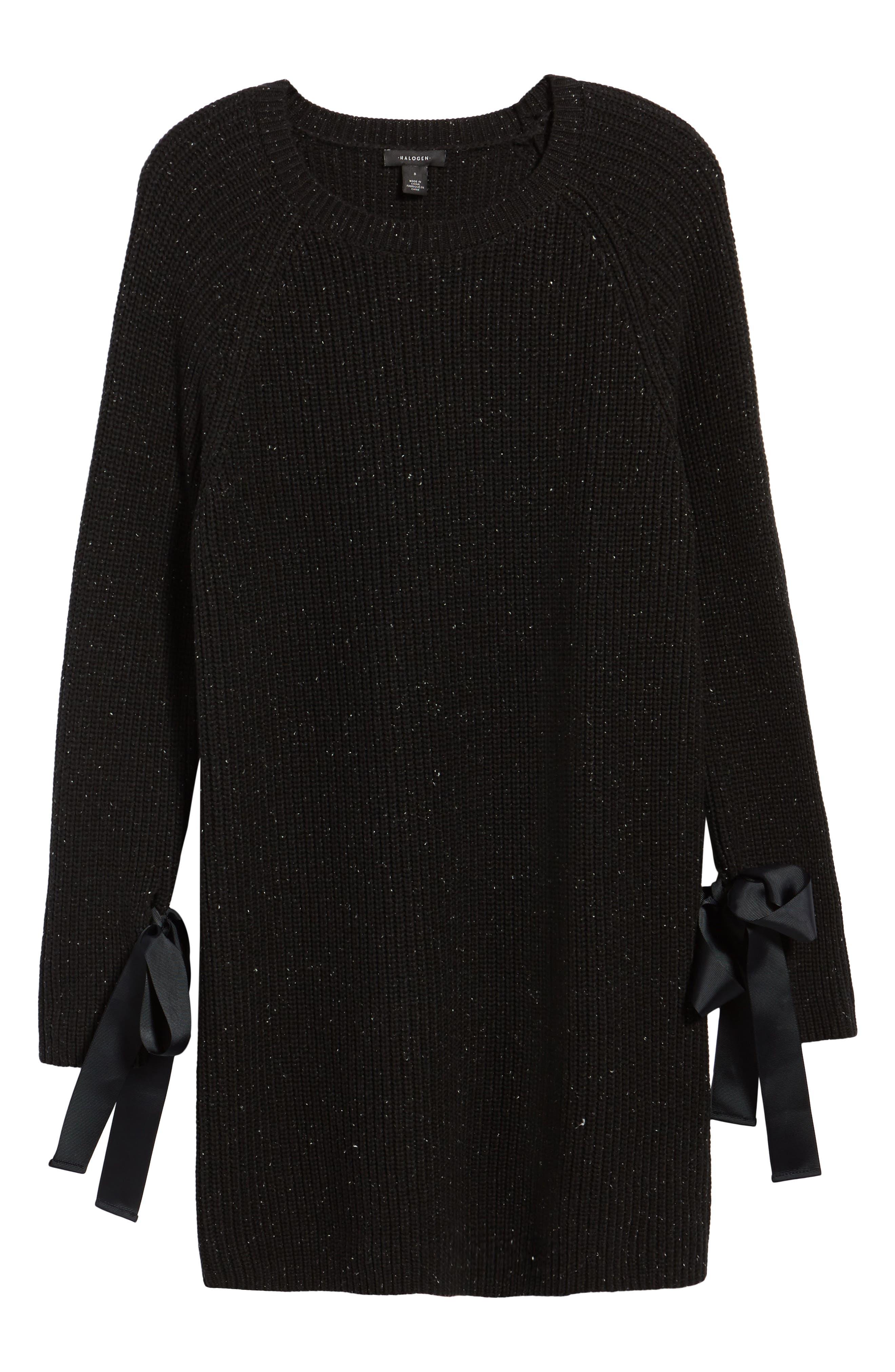Bow Sleeve Tunic,                             Alternate thumbnail 6, color,                             Black Nep Pattern