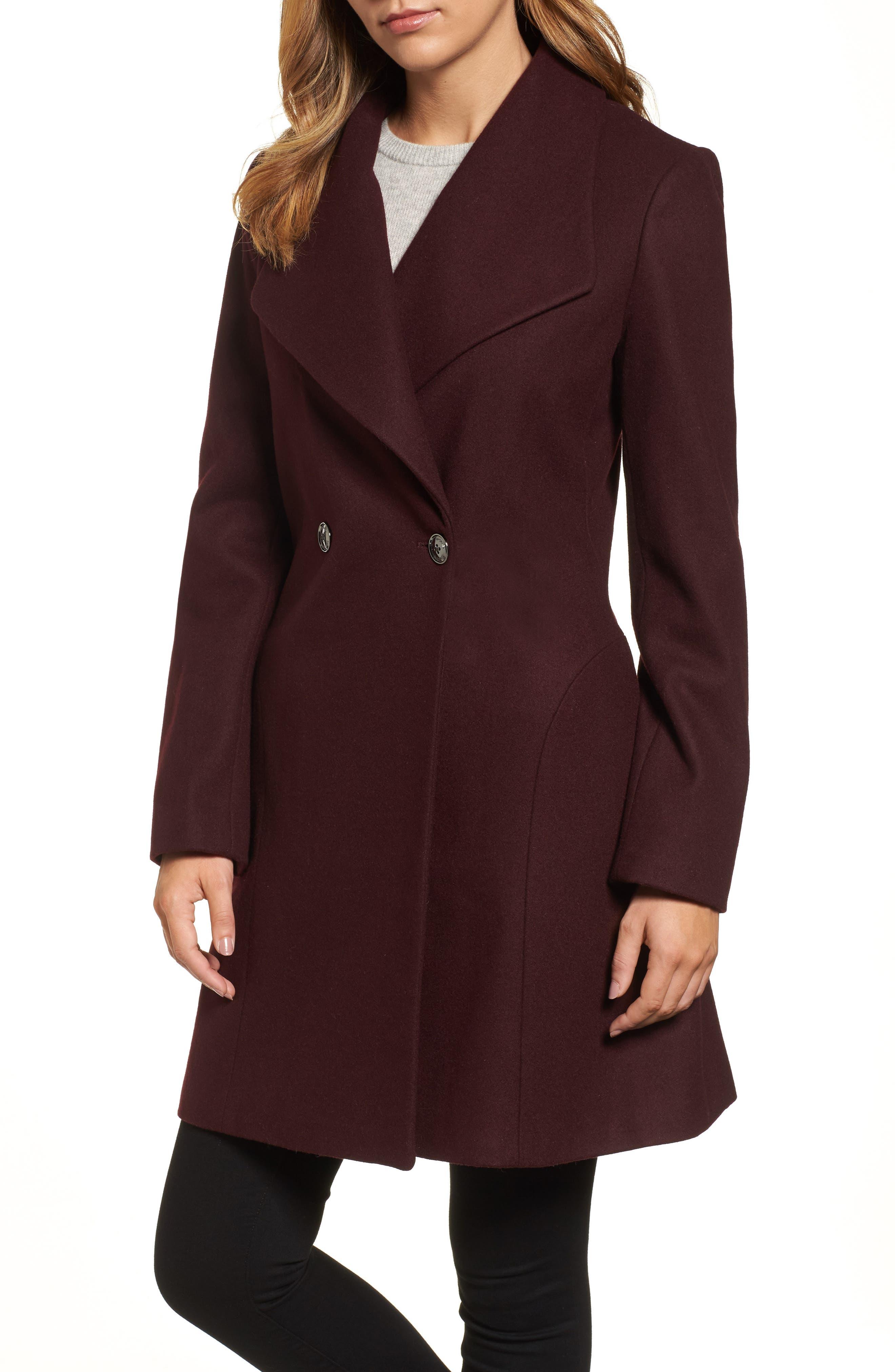 MICHAEL Michael Kors Missy Double Breasted Wool Blend Swing Coat