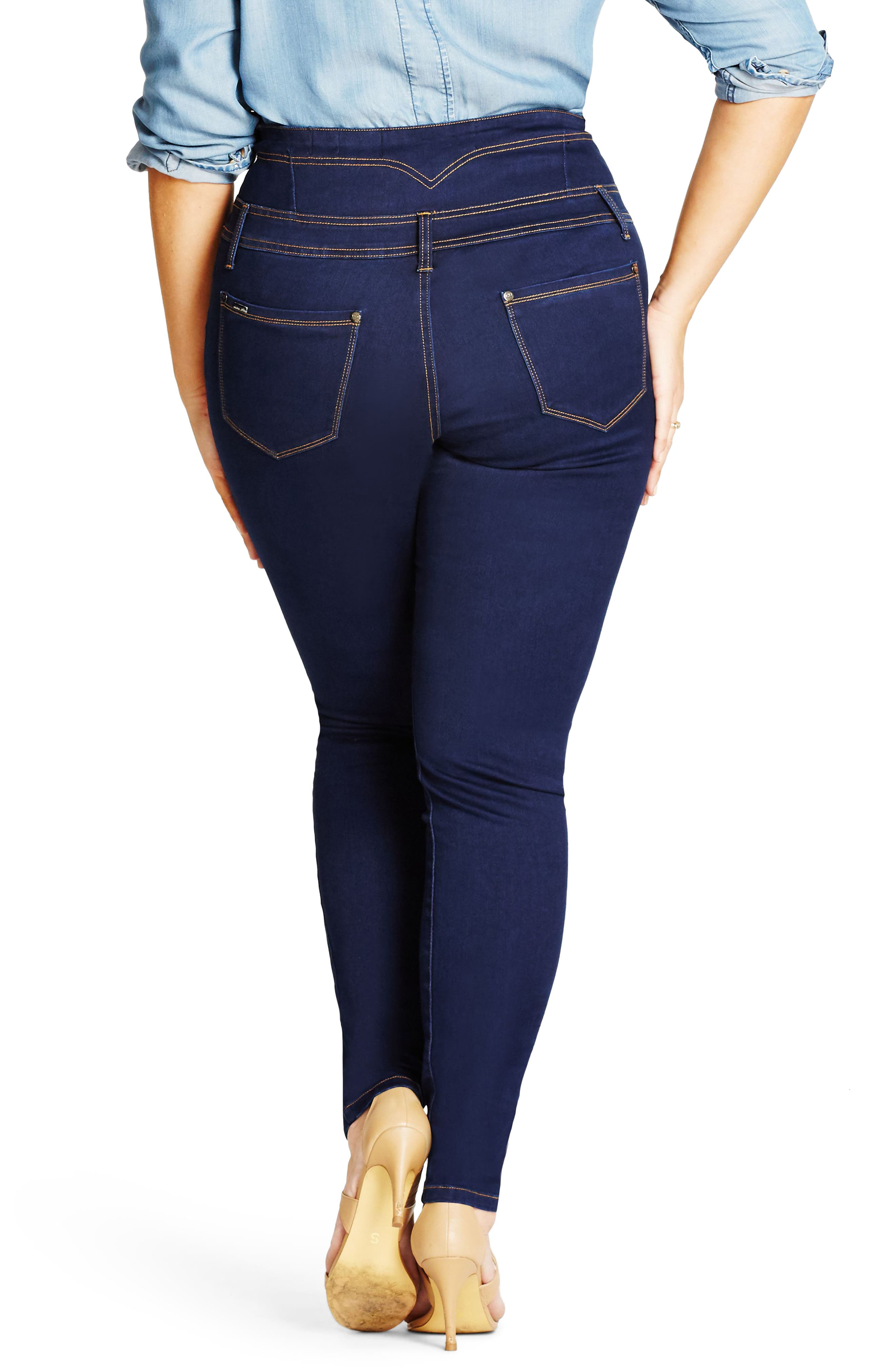 Harley Corset Waist Stretch Skinny Jeans,                             Alternate thumbnail 2, color,                             Dark Denim