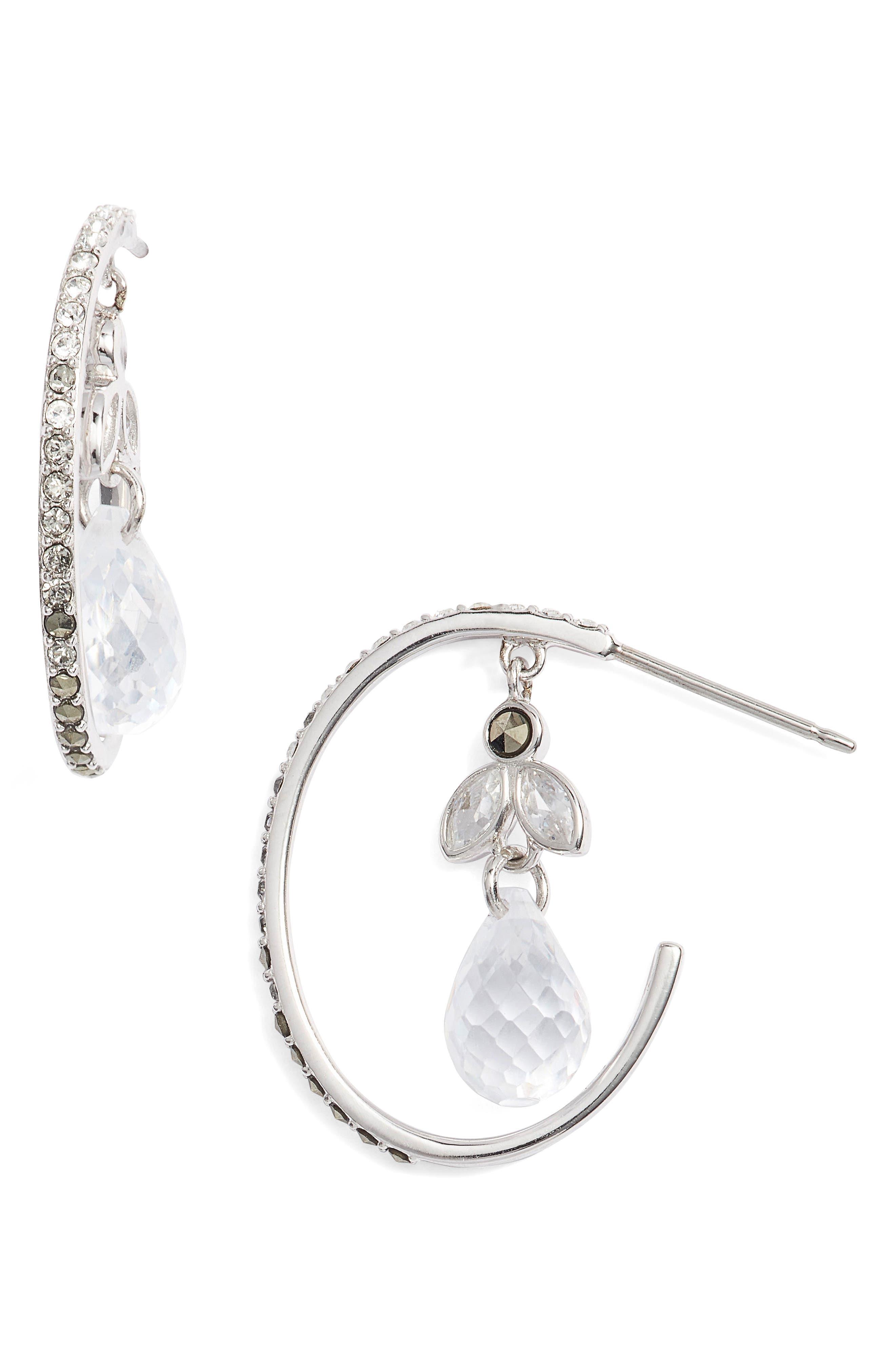 Main Image - Judith Jack Crystal Hoop Earrings