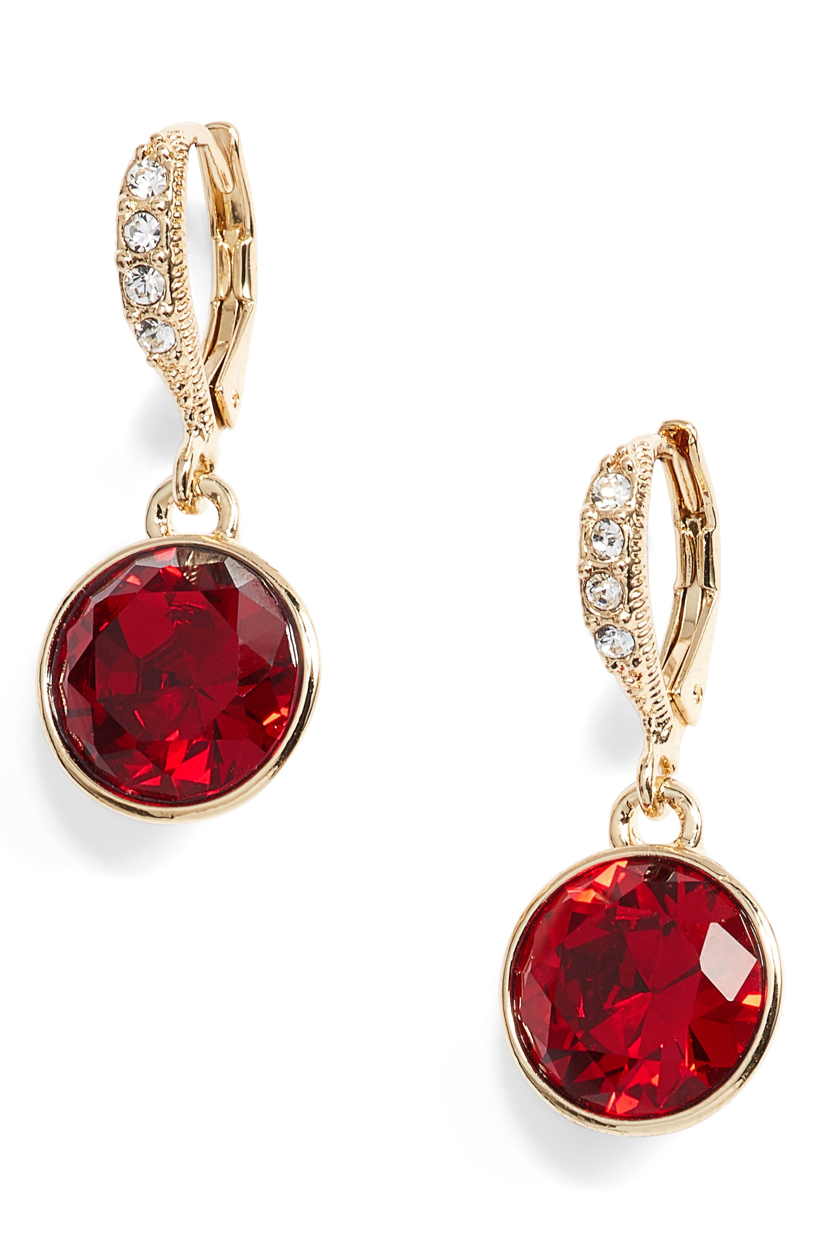Round Drop Earrings,                         Main,                         color, Red/ Gold