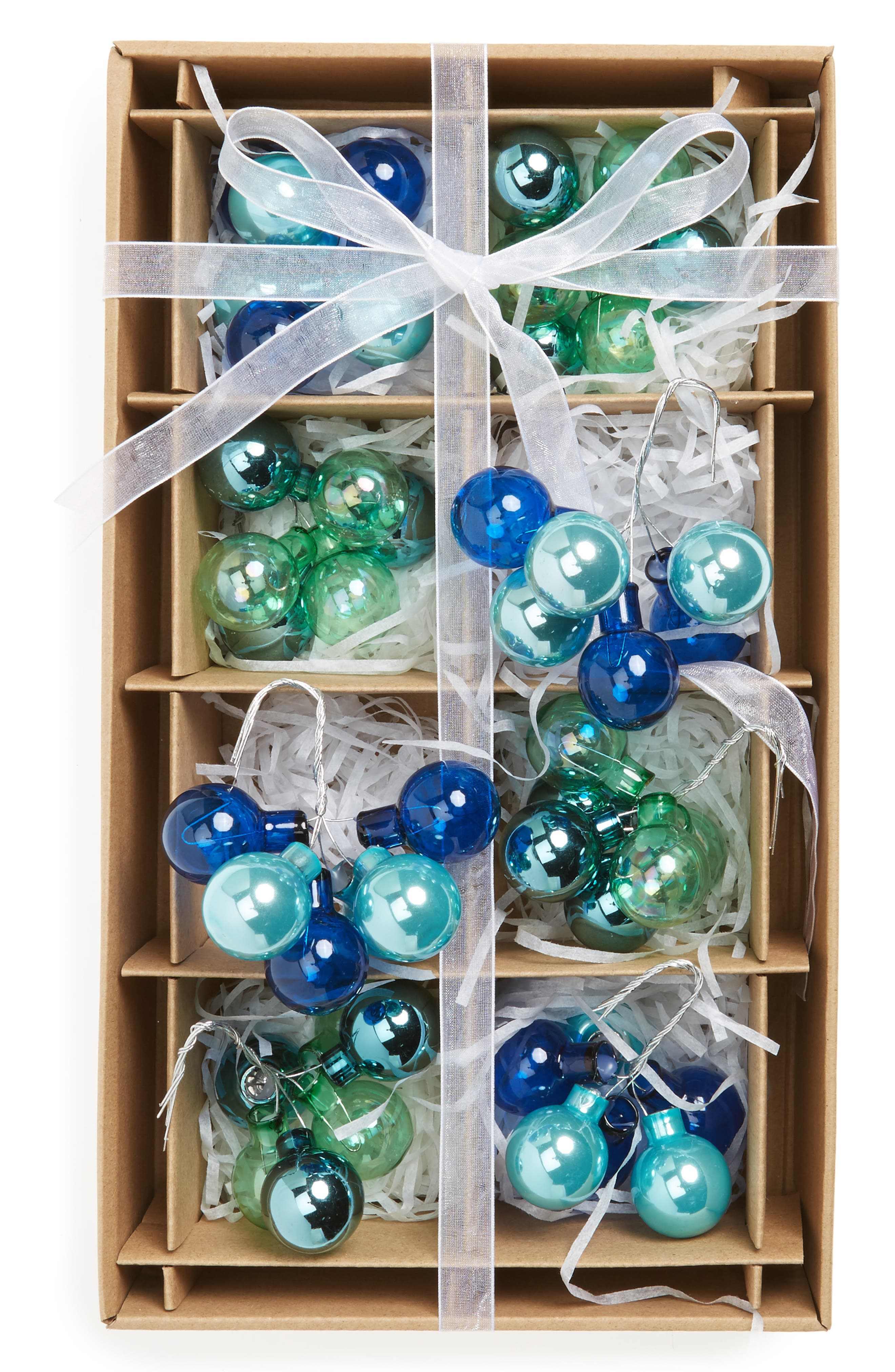 Kat & Annie Set of 8 Cluster Ball Ornaments,                         Main,                         color, Blue/ Green
