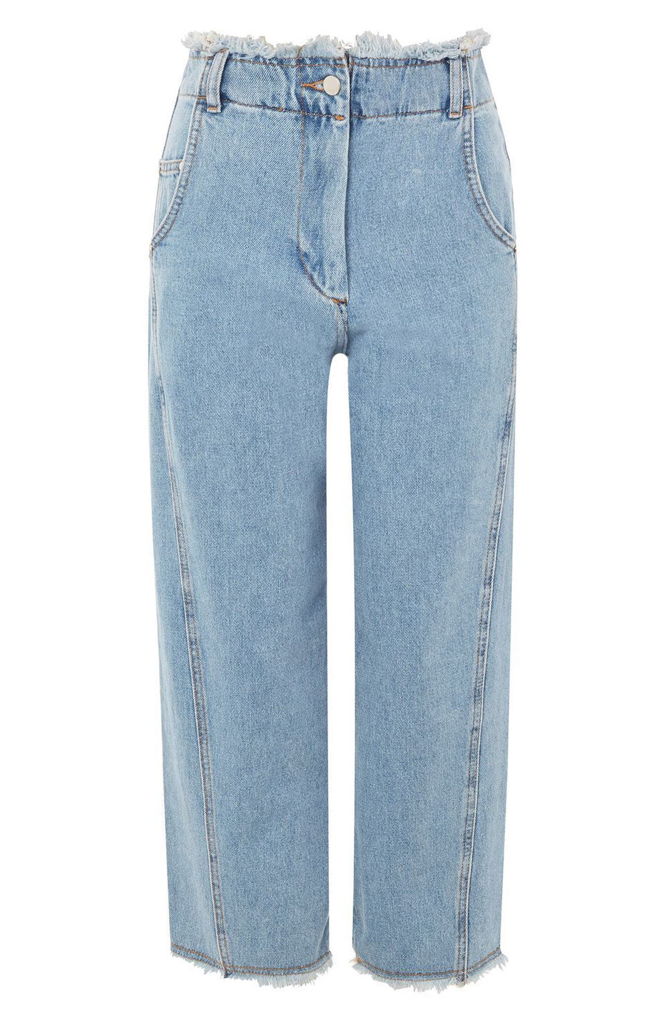 Topshop Boutique Twisted Baggy Fray Jeans