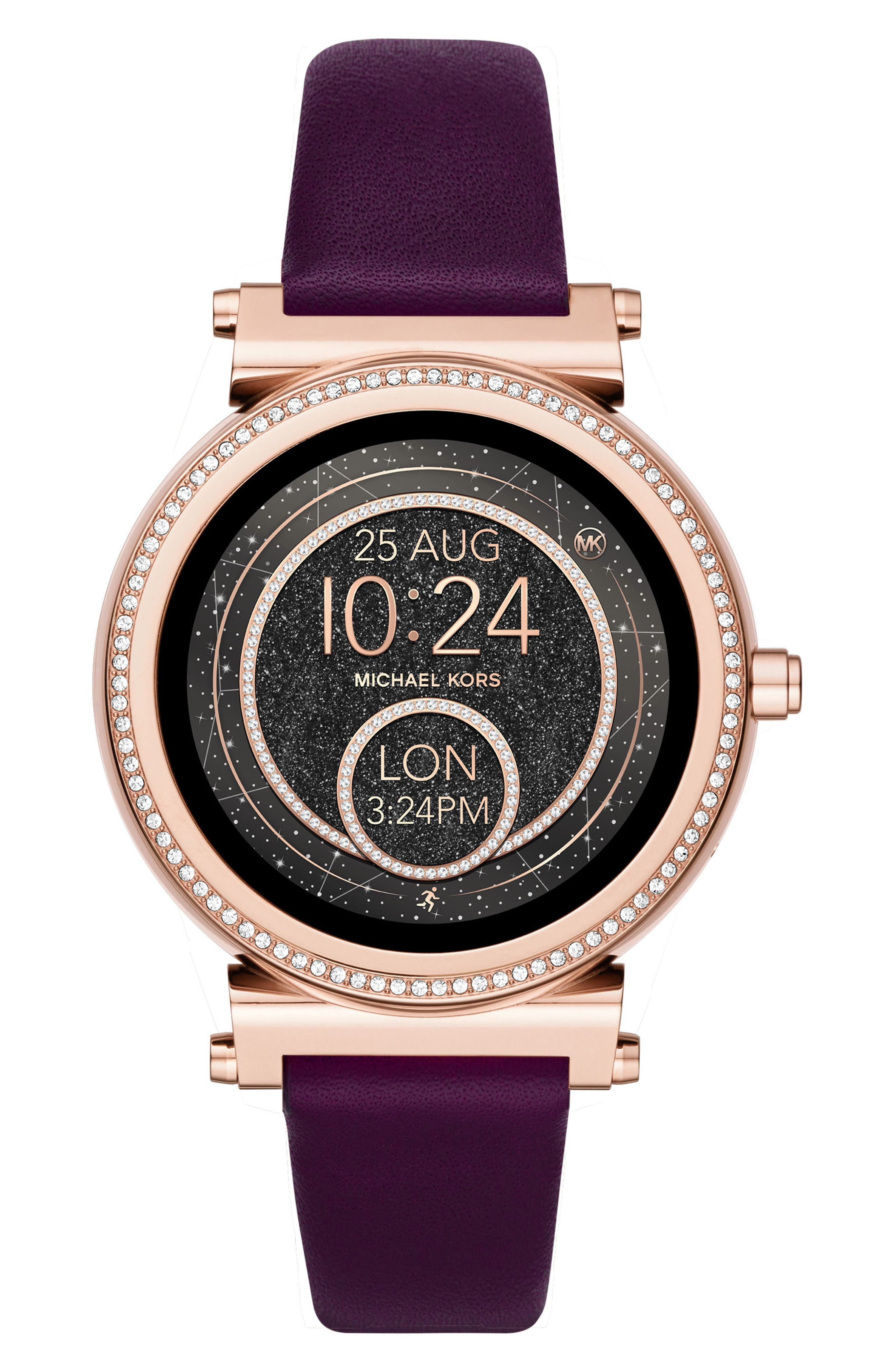 Alternate Image 2  - Michael Kors Access Sofie 18mm Leather Watch Strap