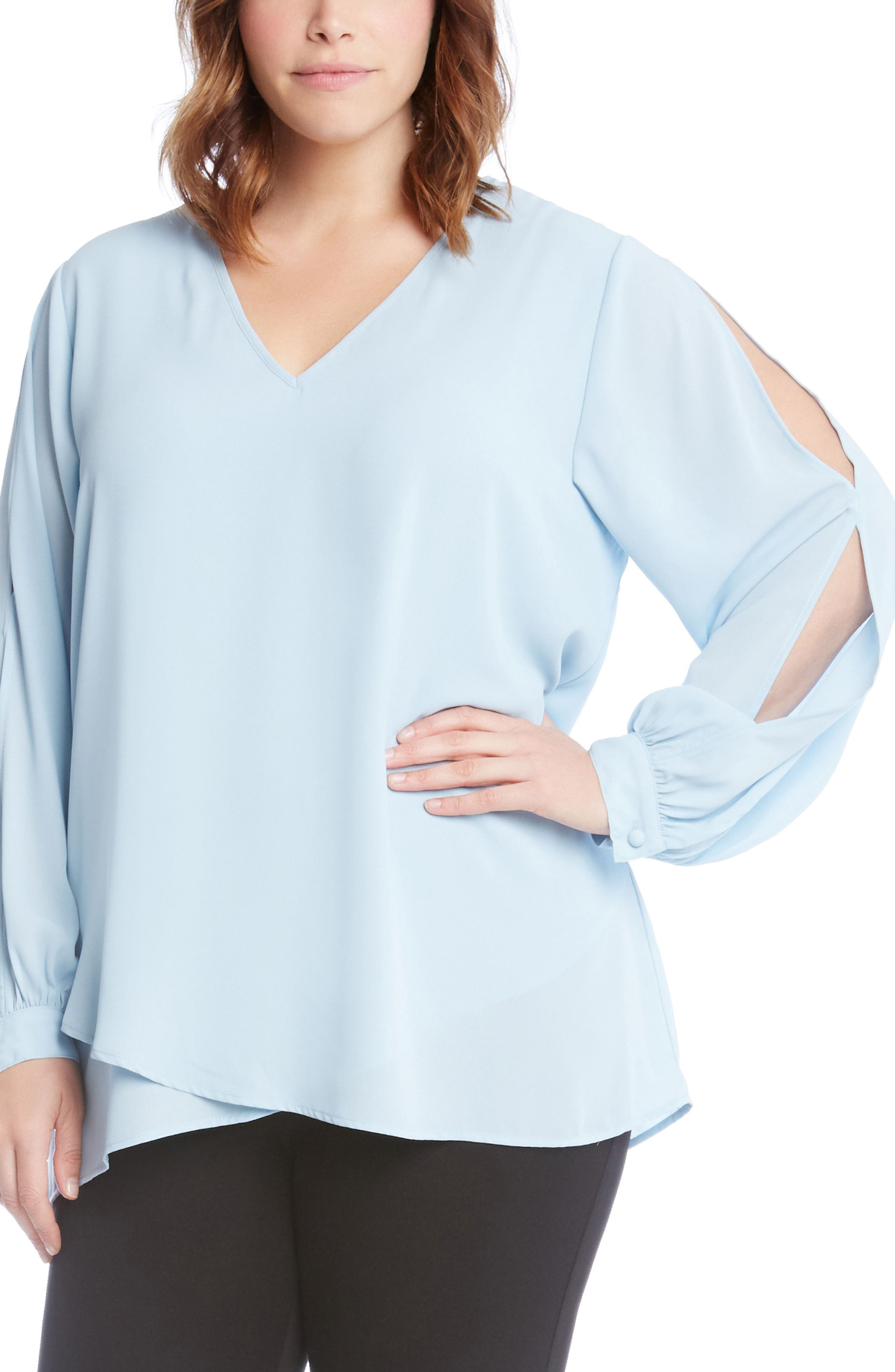 Slit Sleeve Asymmetrical Faux Wrap Top,                             Alternate thumbnail 3, color,                             Blue
