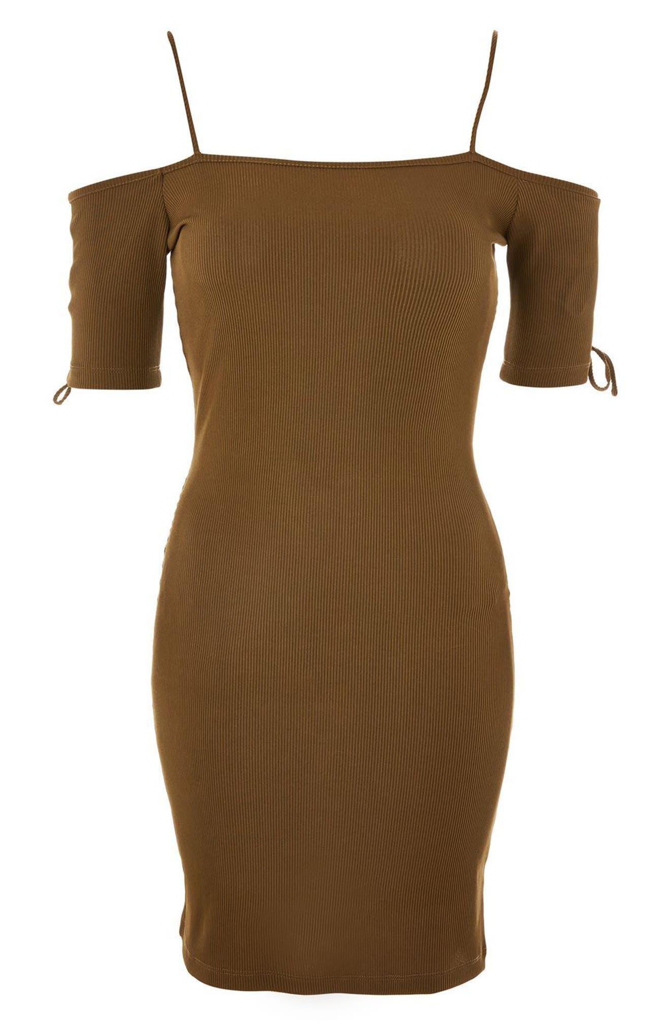 Lace-Up Sleeve Off the Shoulder Dress,                             Alternate thumbnail 3, color,                             Olive