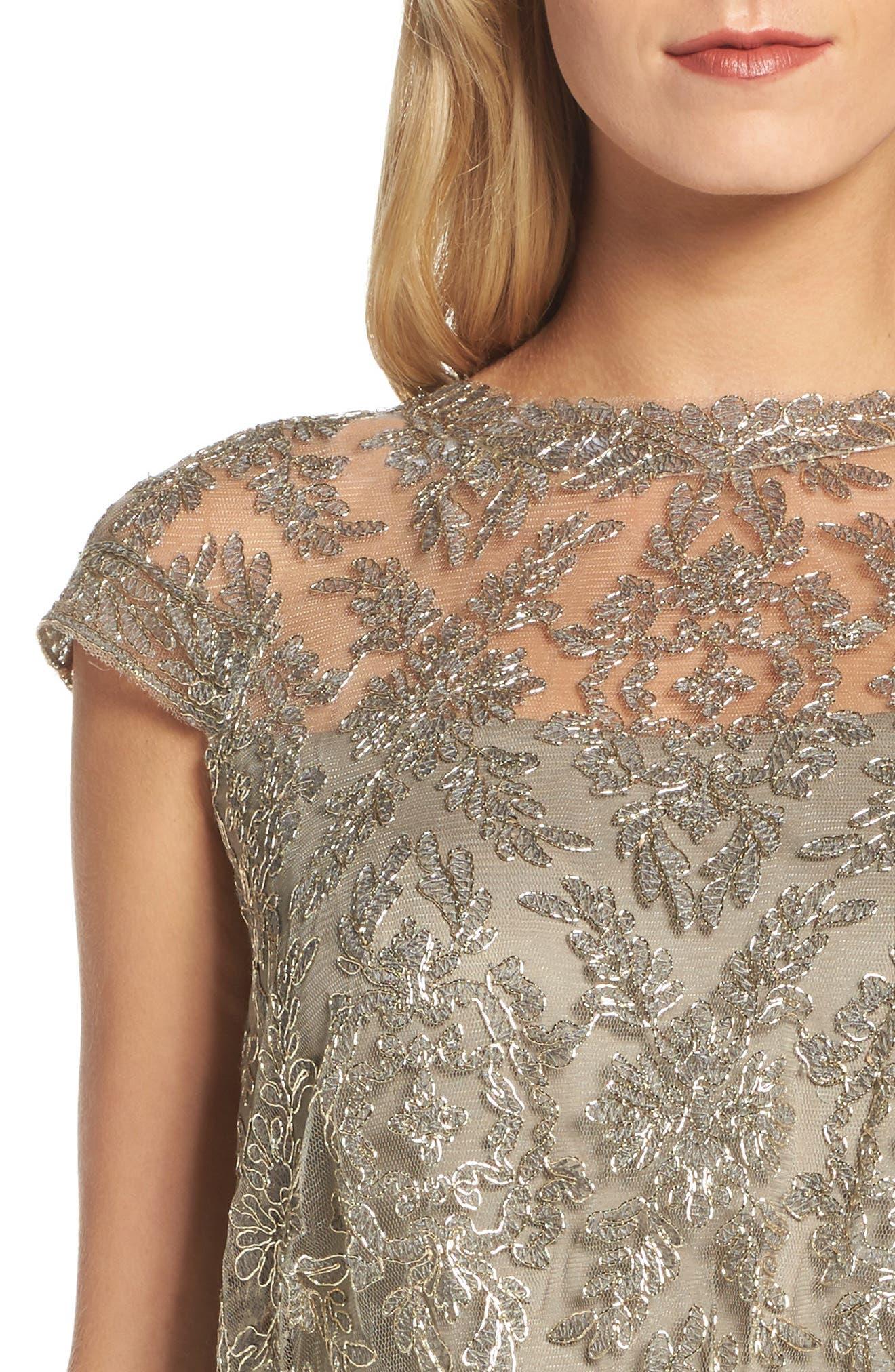 Embroidered Metallic Blouson Dress,                             Alternate thumbnail 4, color,                             Smoke Pearl