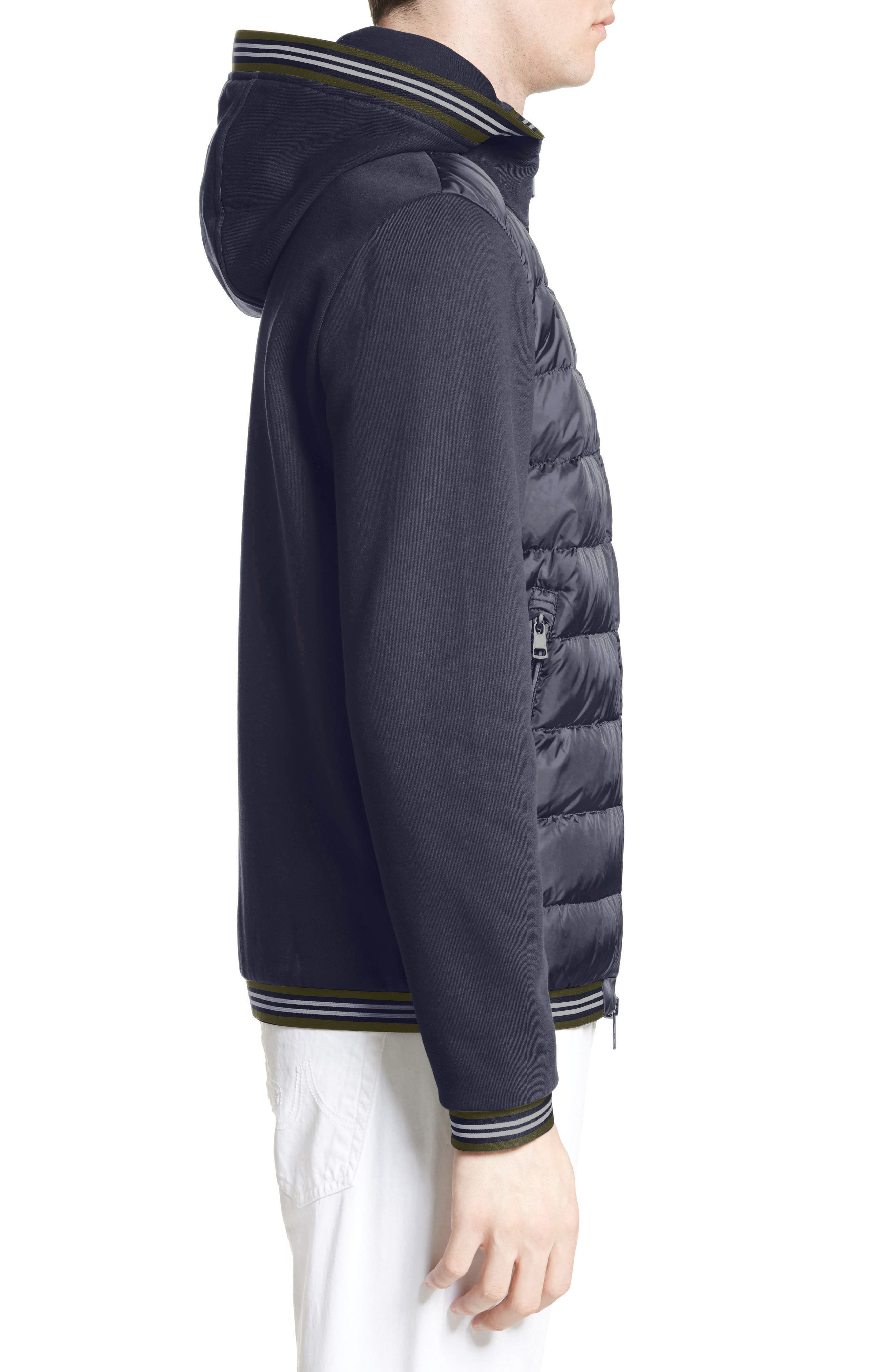Alternate Image 4  - Moncler Maglia Quilted Front Jersey Hooded Jacket