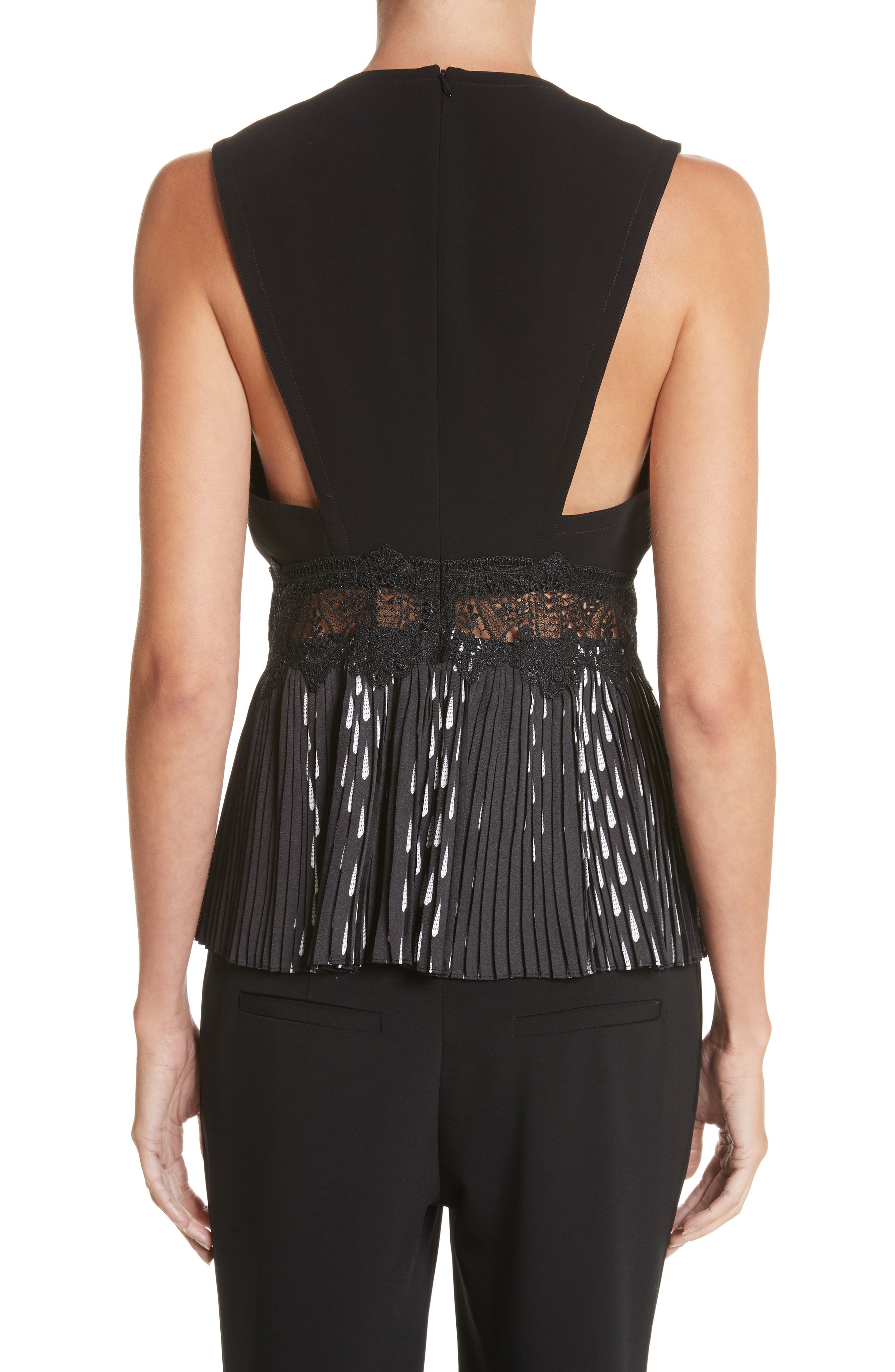 Alternate Image 2  - Yigal Azrouël Studded Coral Embroidered Pleated Top