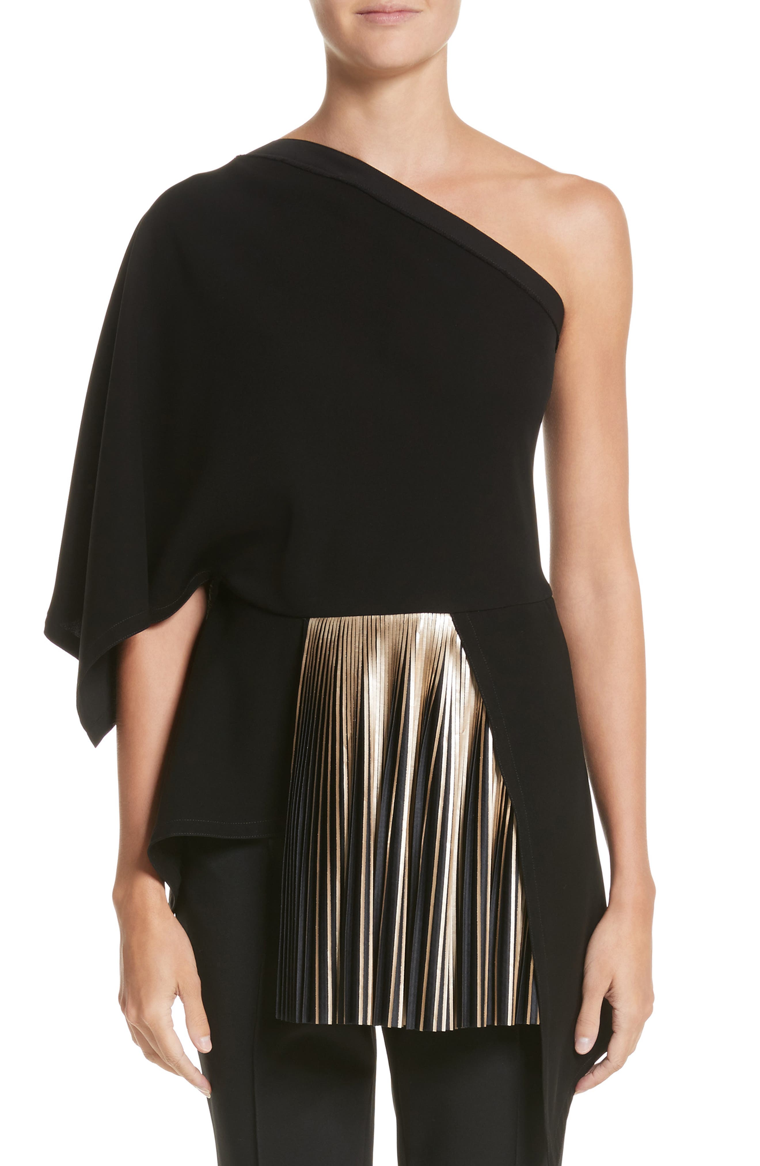 One-Shoulder Pleated Crepe Top,                             Main thumbnail 1, color,                             Gold / Jet