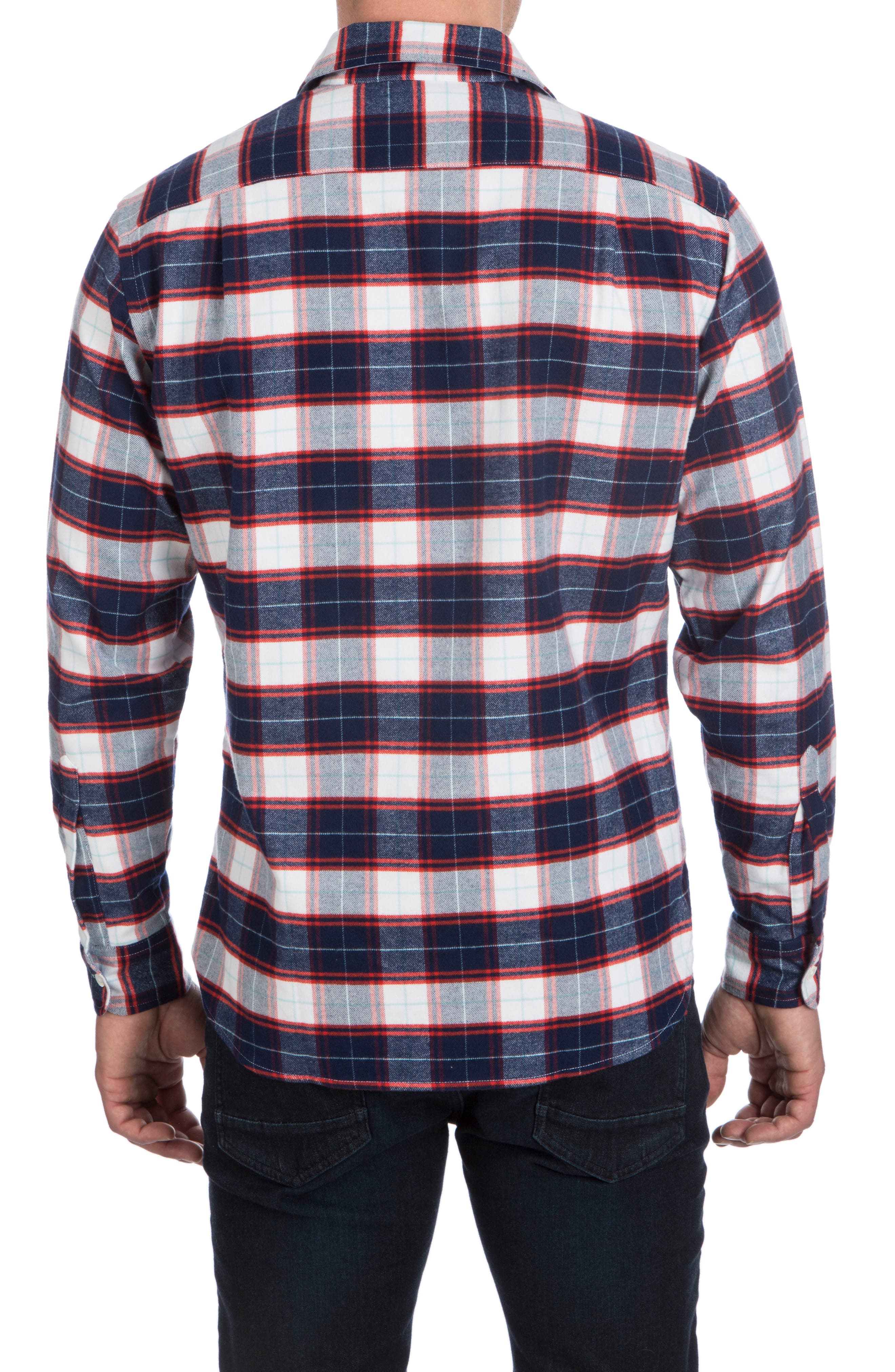 Flannel Sport Shirt,                             Alternate thumbnail 2, color,                             Navy