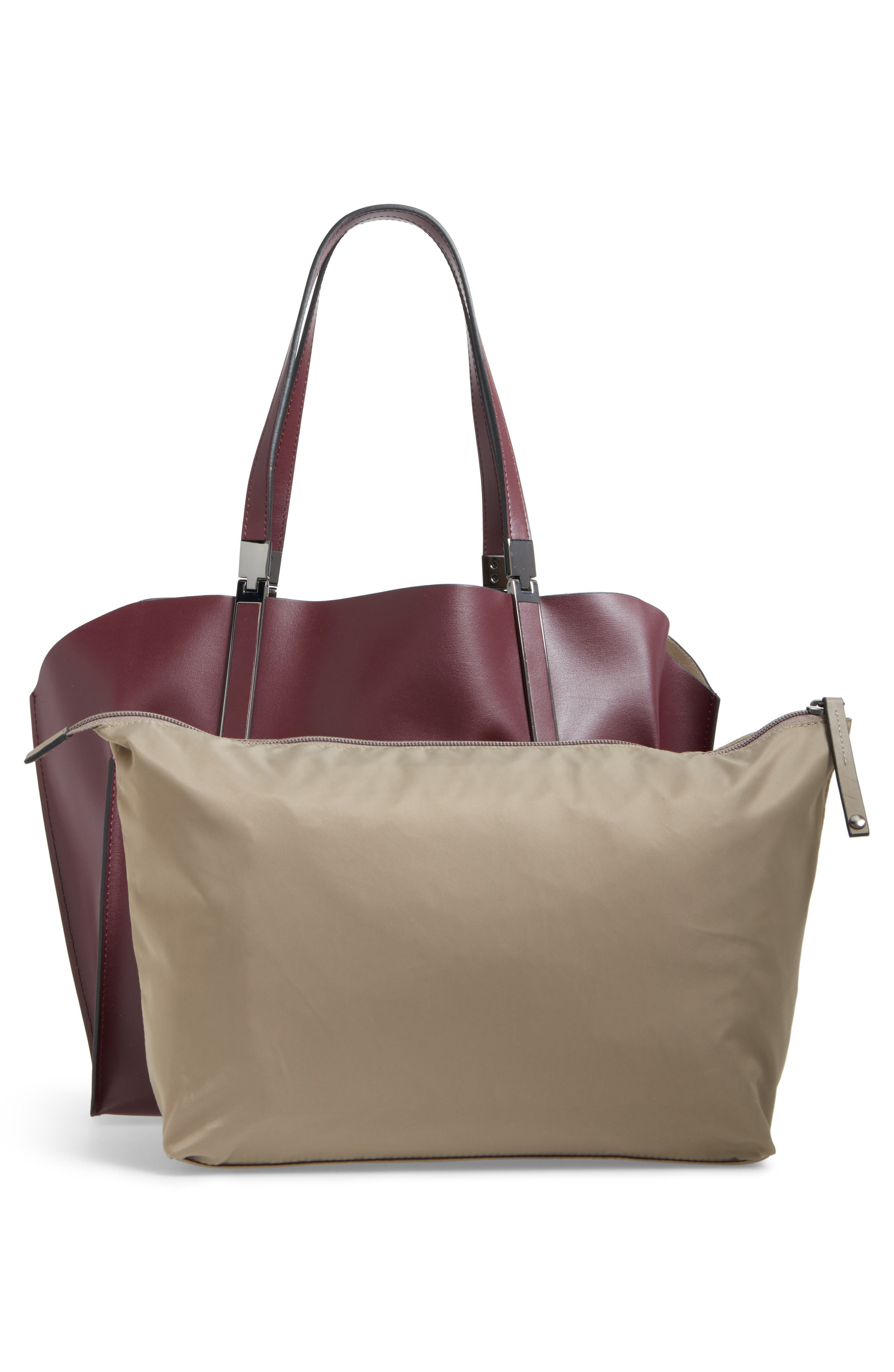 LODIS Silicon Valley Collection Under Lock & Key - Anita RFID East/West Leather Satchel,                             Alternate thumbnail 3, color,                             Chianti/ Taupe