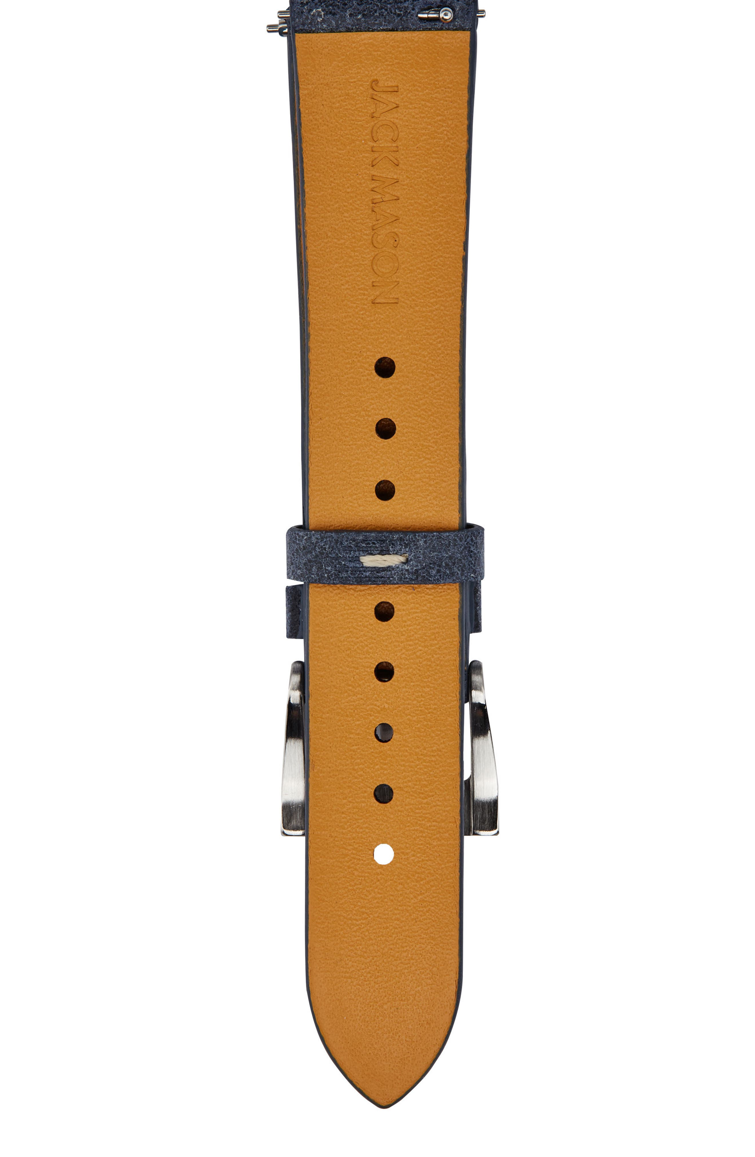 Leather Watch Strap, 18mm,                             Alternate thumbnail 2, color,                             Navy