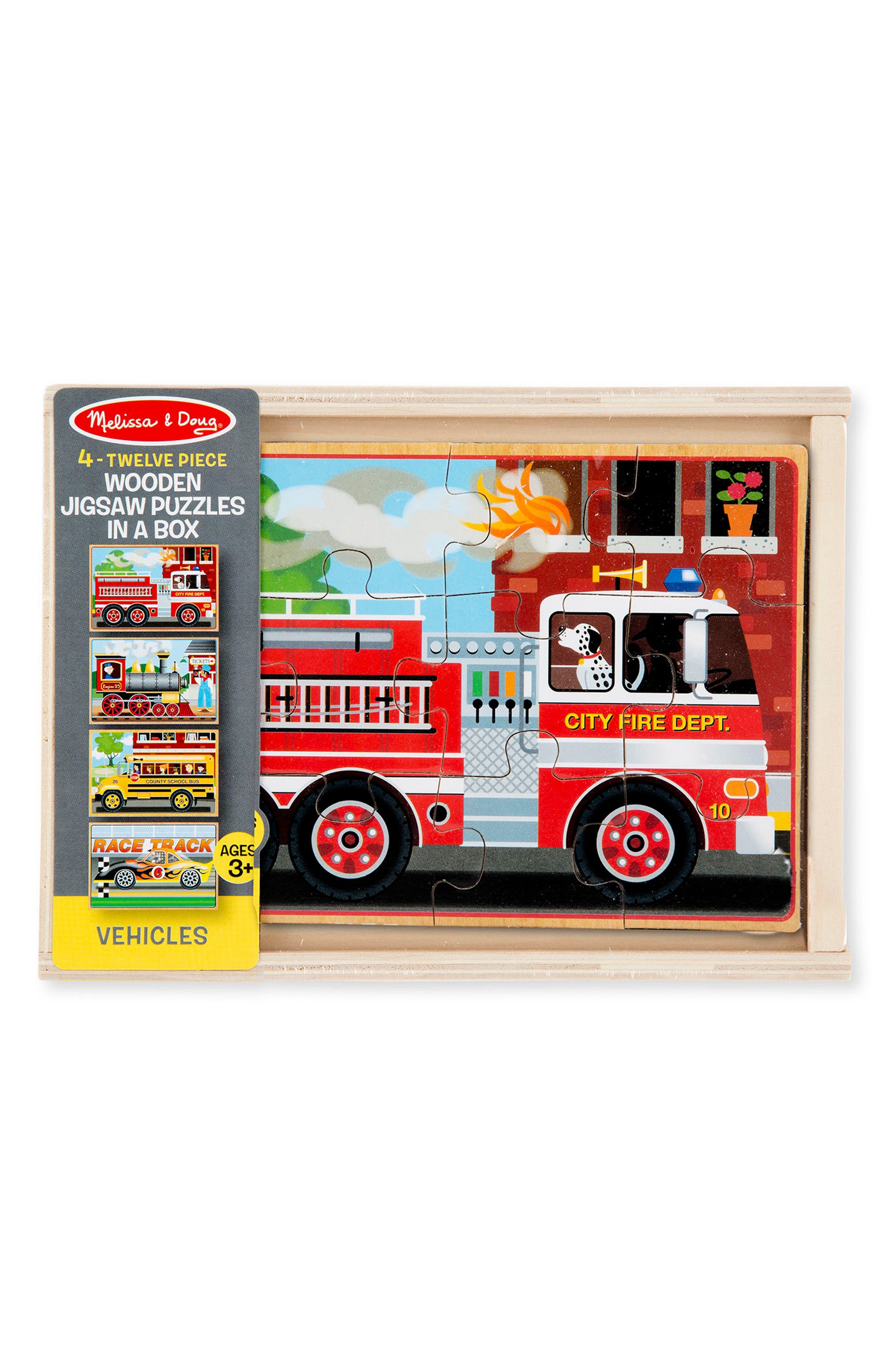 Melissa & Doug Set of Four 12-Piece Wooden Vehicle Puzzles