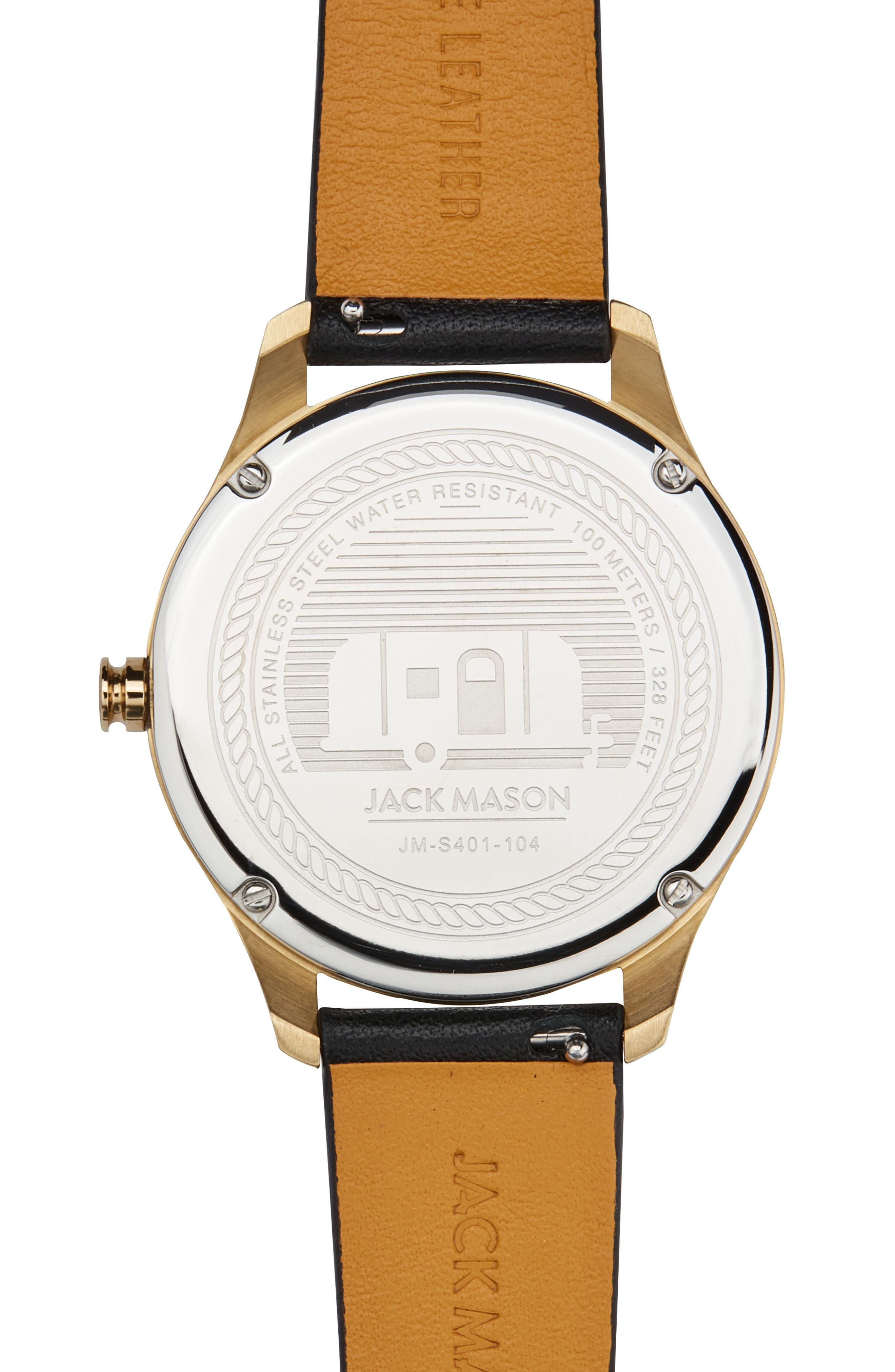 Slim Leather Strap Watch, 38mm,                             Alternate thumbnail 2, color,                             Black/ Gold