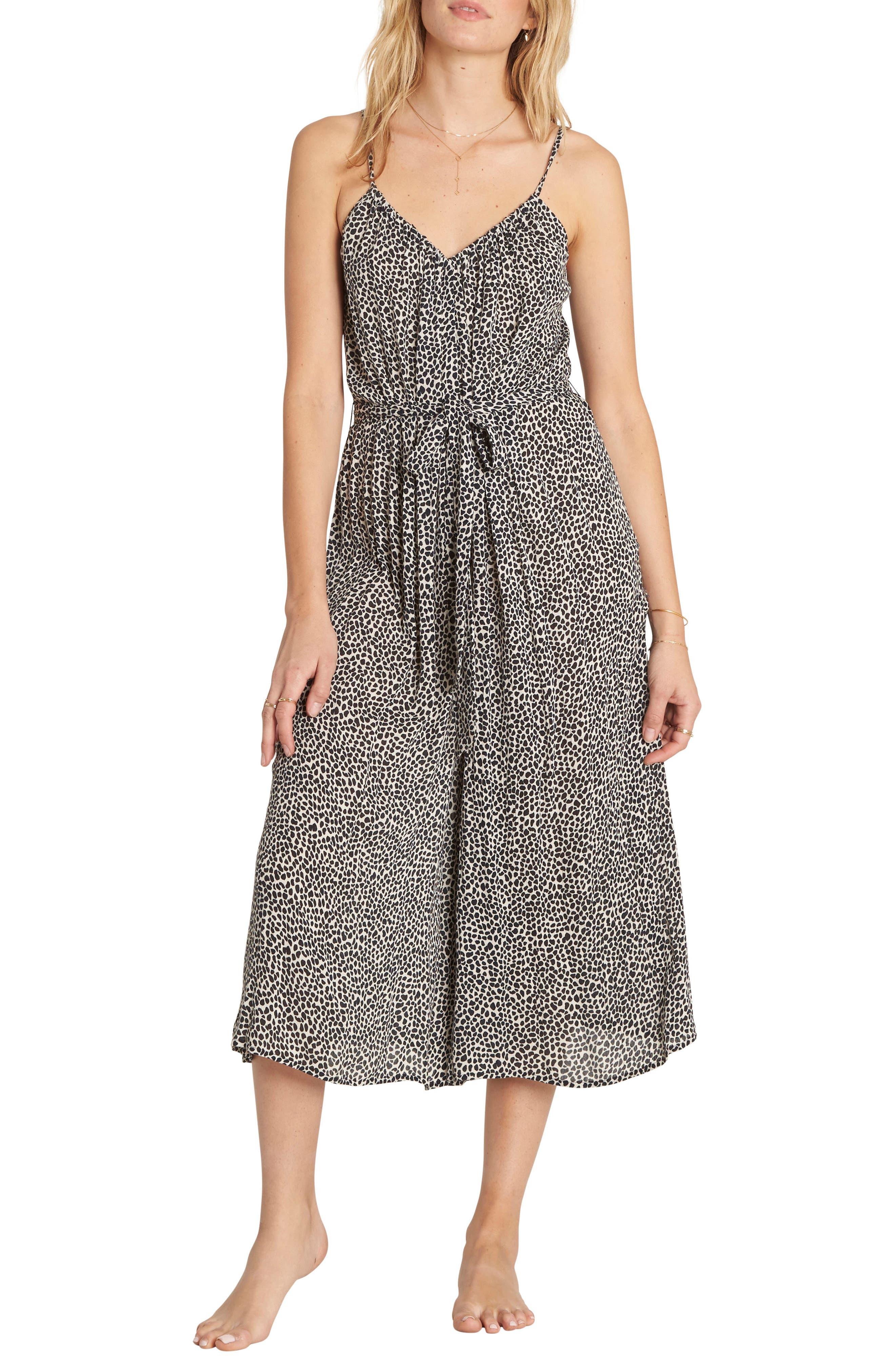 Main Image - Billabong Wild Hearts Tie Waist Midi Dress