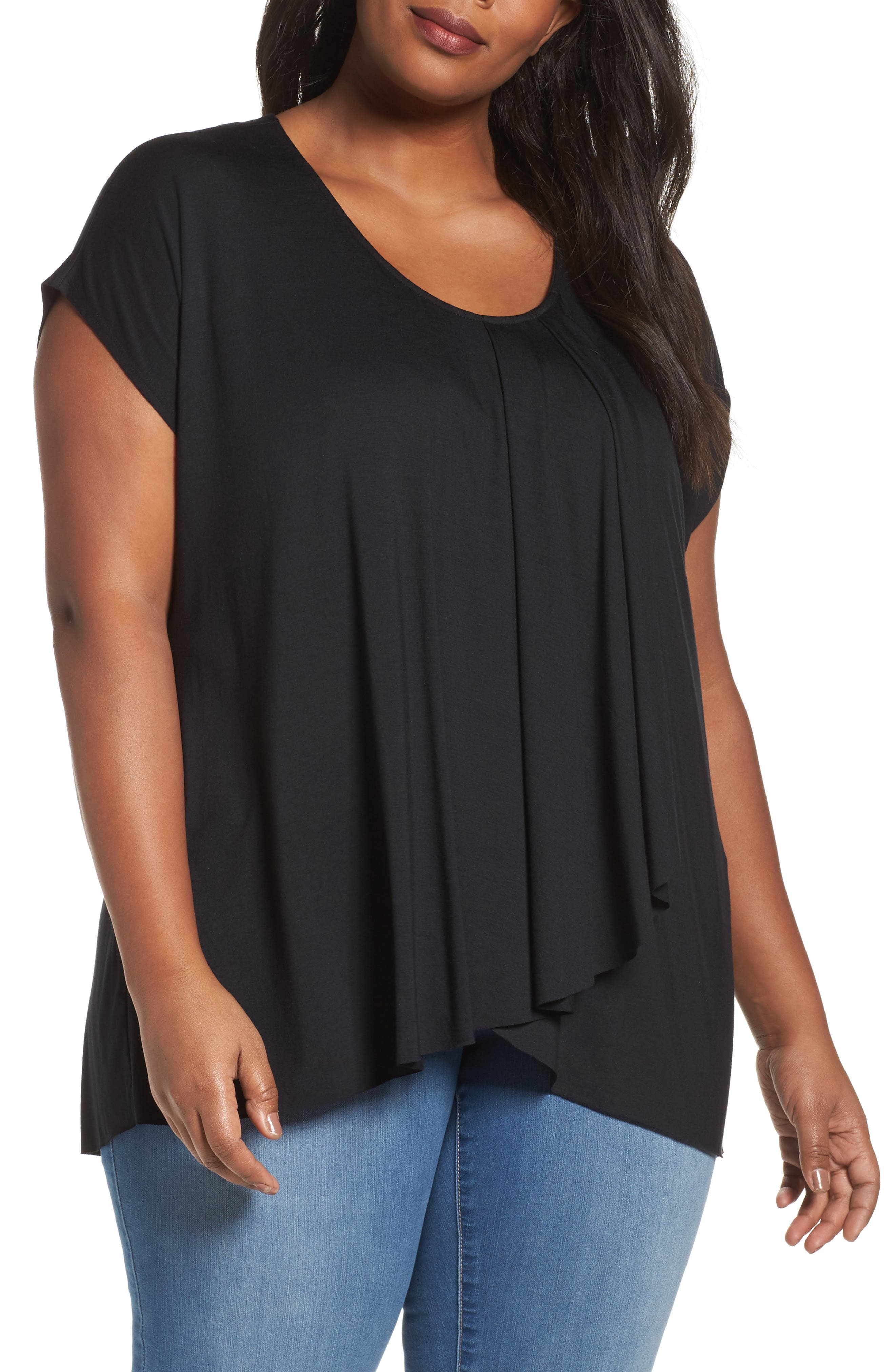 Pleat Front Tee,                         Main,                         color, Black