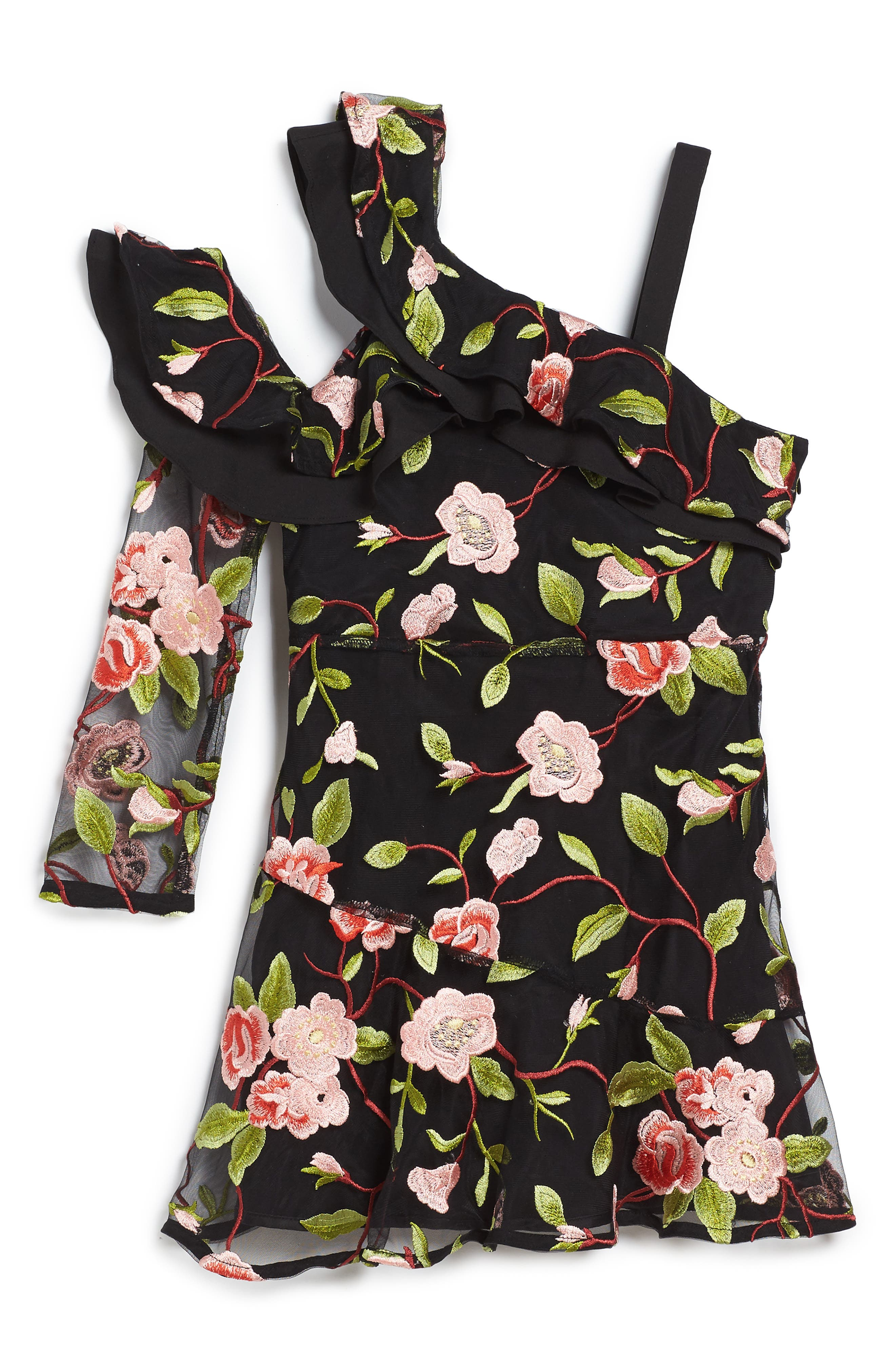 Bardot Junior Jett Embroidered One-Shoulder Dress (Toddler Girls & Little Girls)