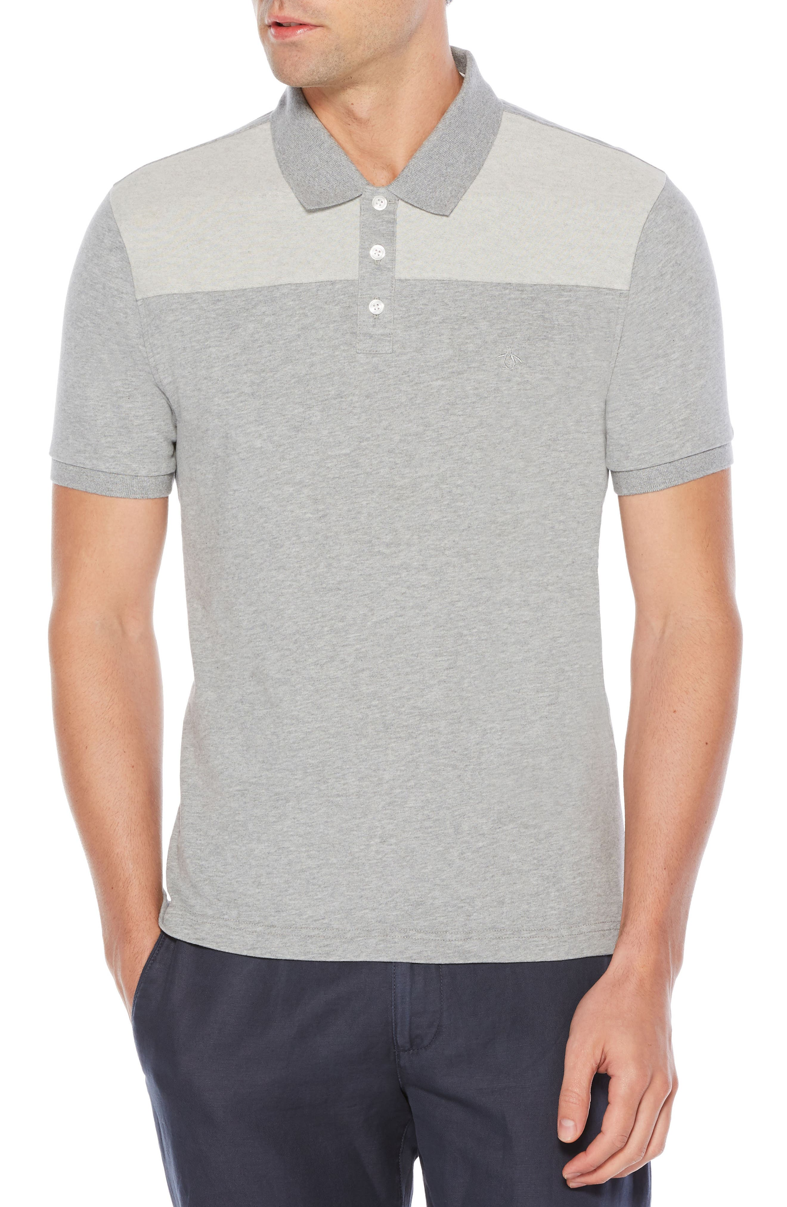 Pieced Polo,                         Main,                         color, Athletic Grey Heather