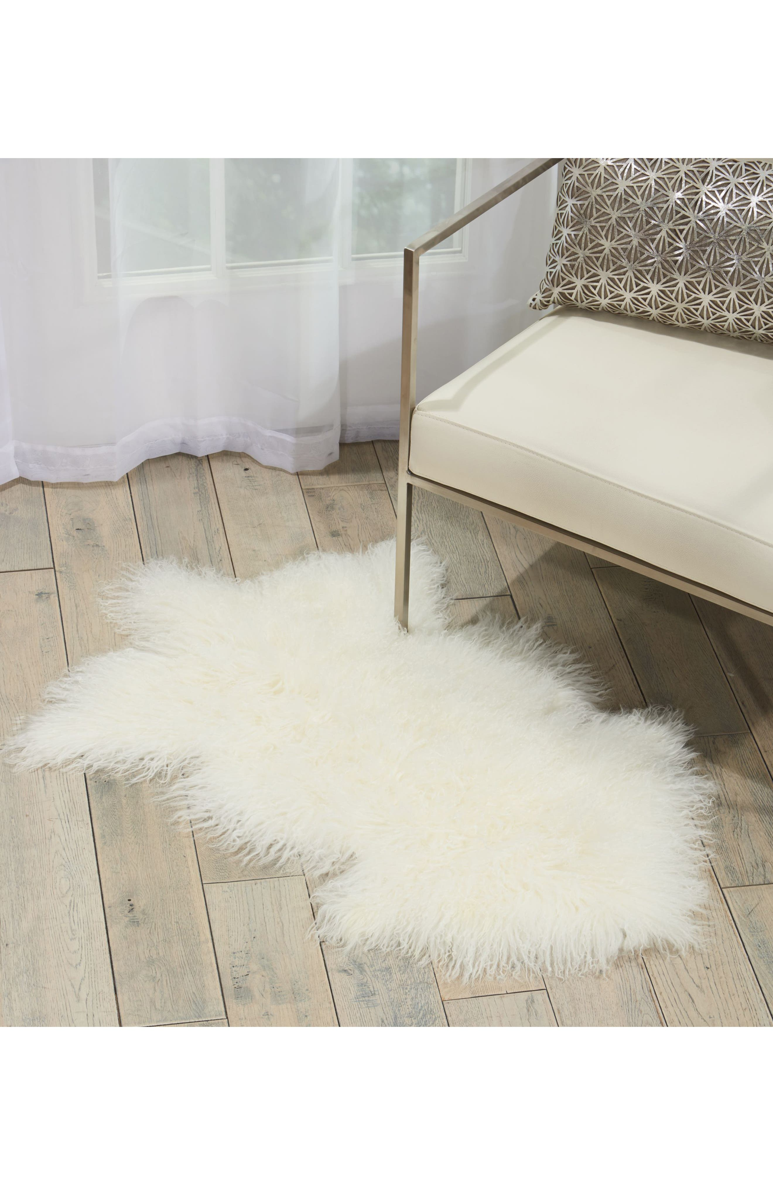 Genuine Sheepskin Freeform Rug,                             Alternate thumbnail 2, color,                             White