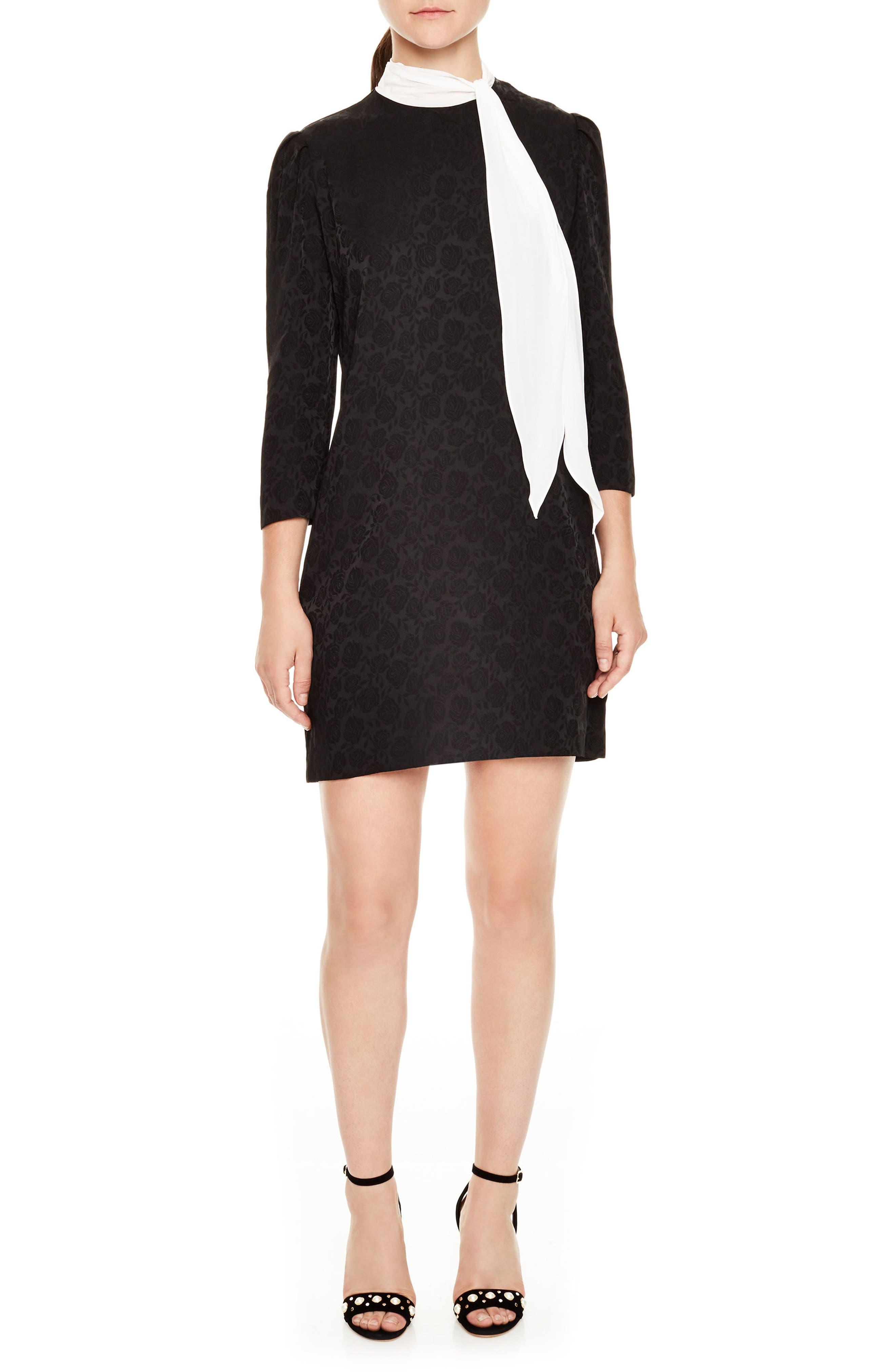 sandro Ketty Tie Detail Rose Print Shift Dress