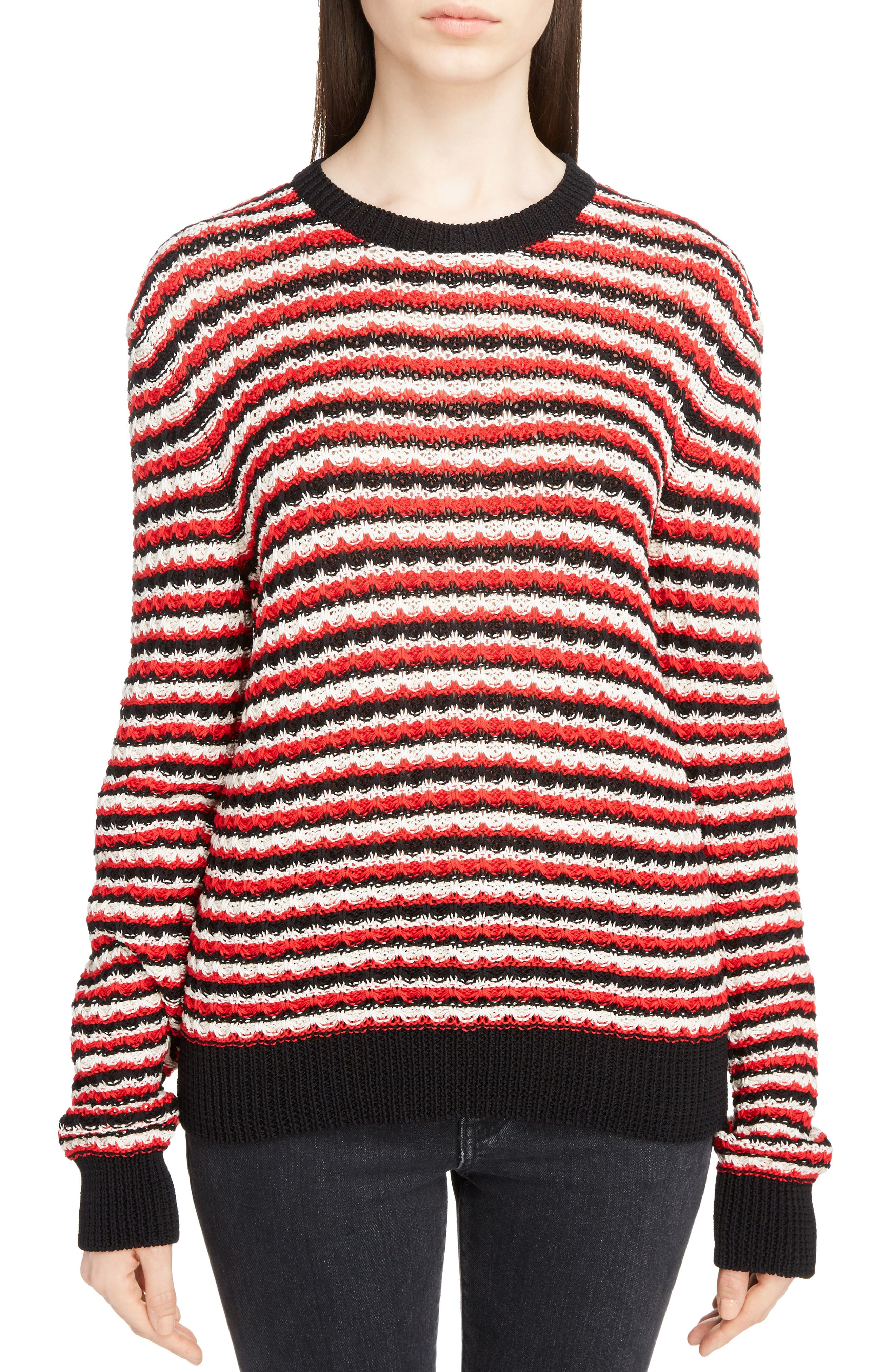 Crochet Stripe Sweater,                         Main,                         color, Noir/ Rouge/ Naturel