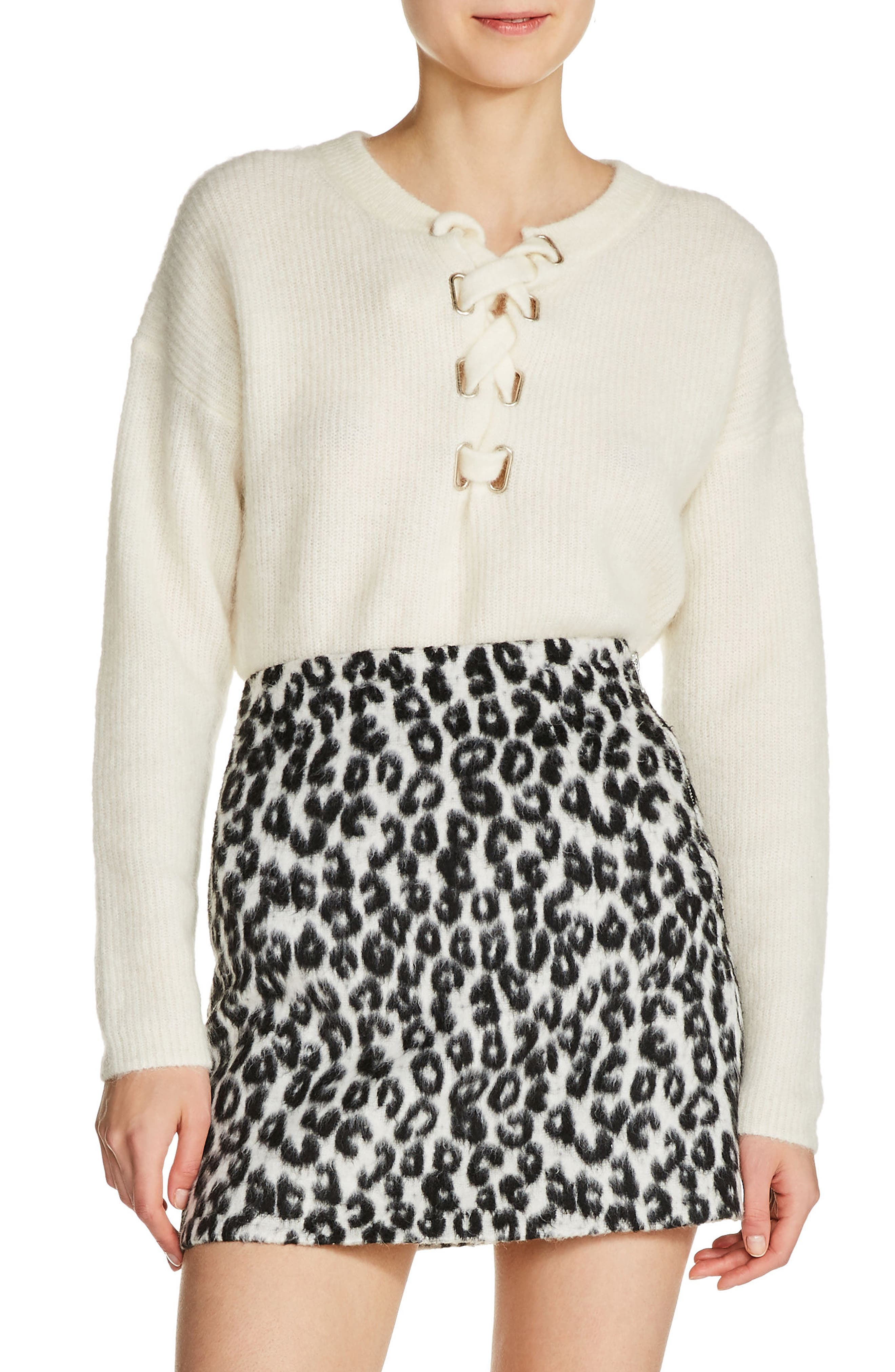 Brushed Leopard Print Miniskirt,                             Main thumbnail 1, color,                             White