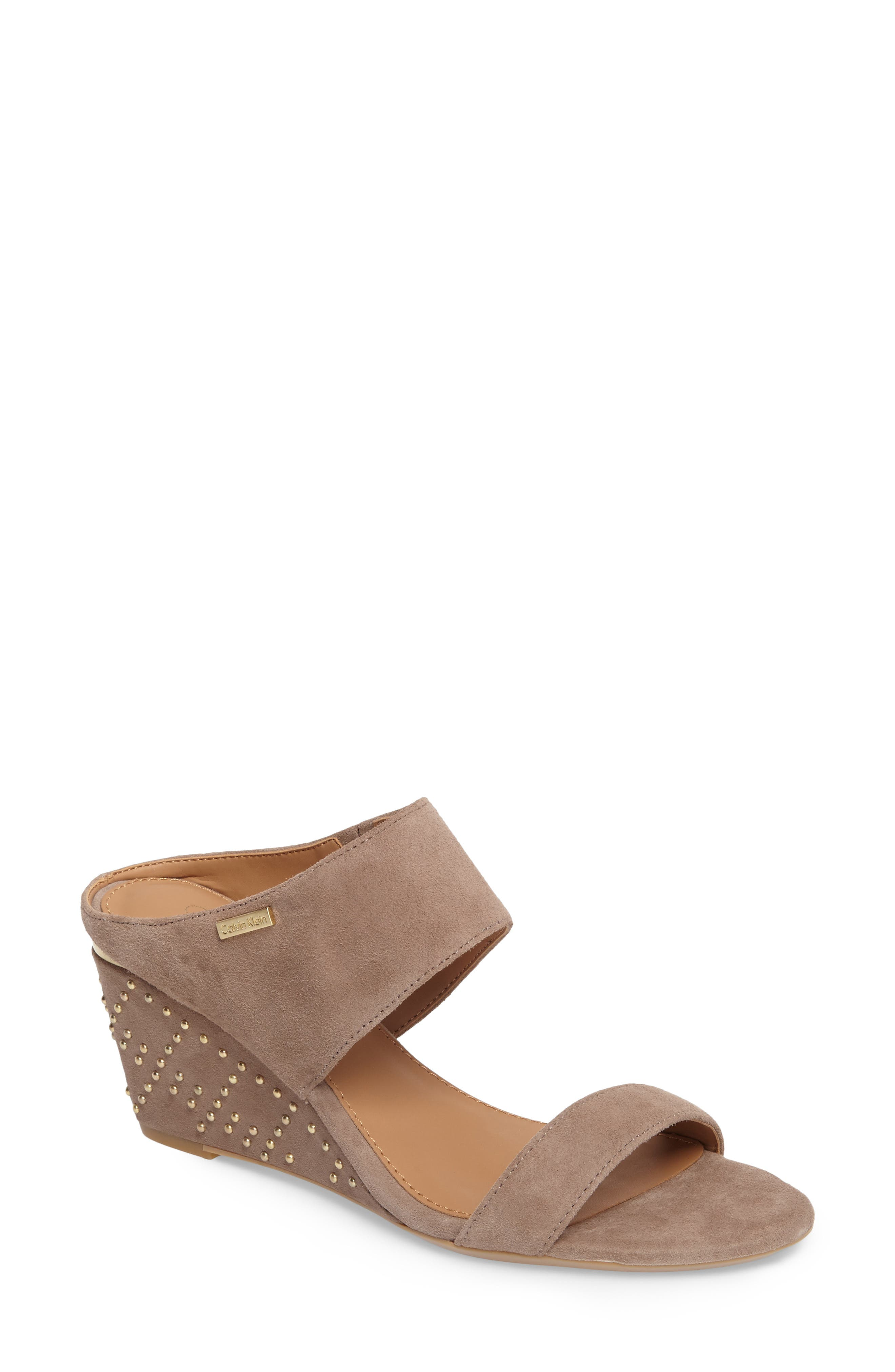 Phyllis Studded Wedge Sandal,                         Main,                         color, Winter Taupe Suede