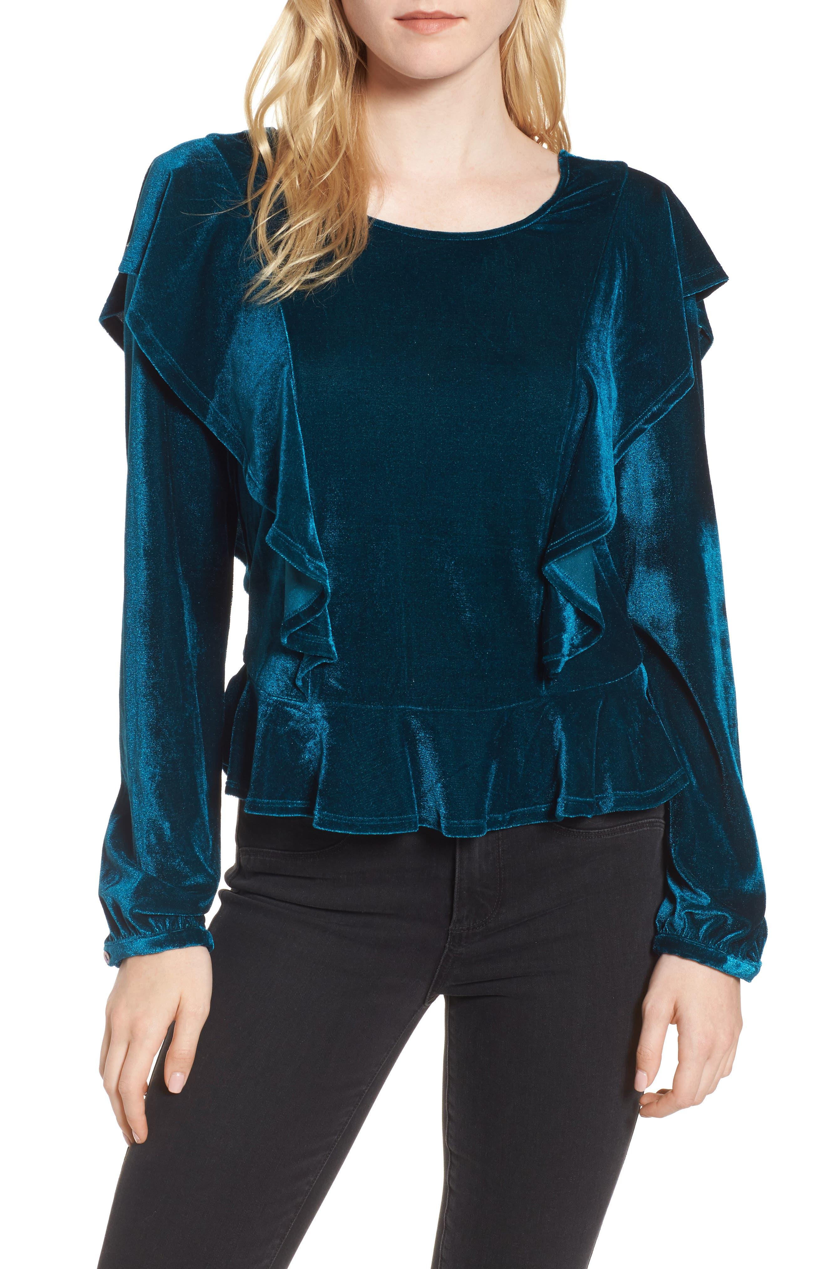 Ruffle Velvet Top,                         Main,                         color, Emerald