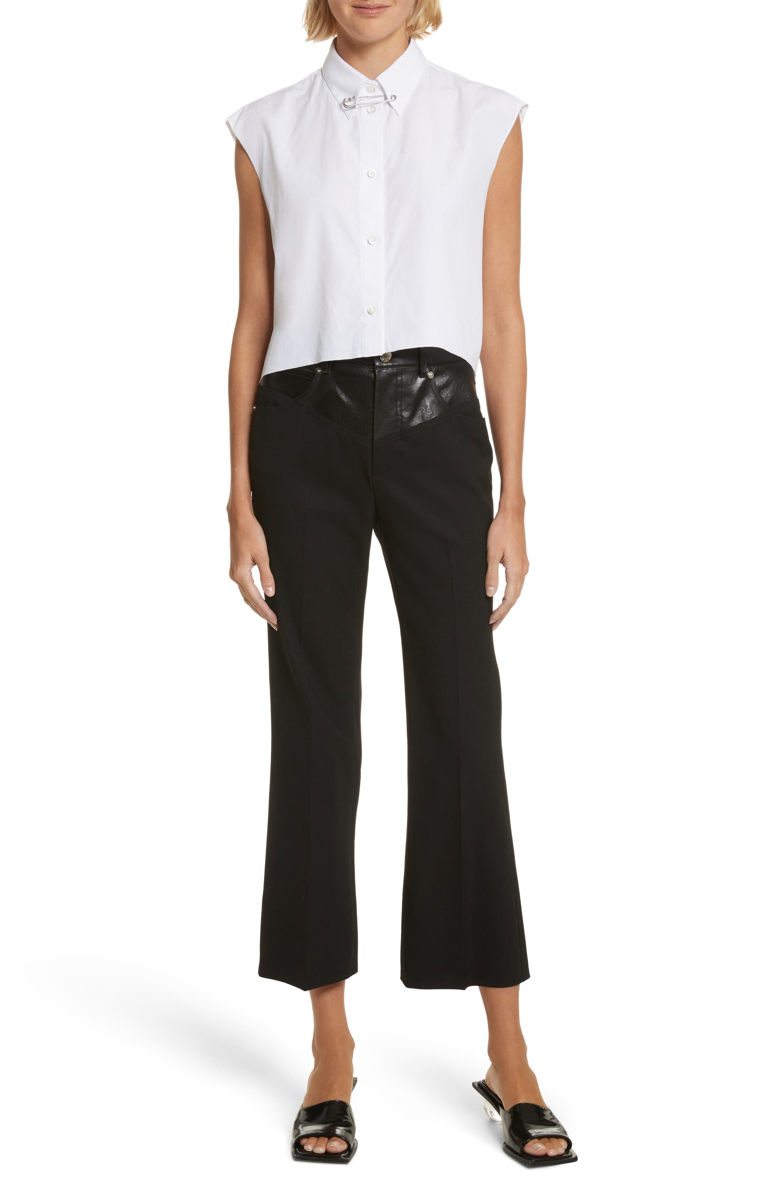 Textured Suiting & Leather Garter Flare Pants,                             Alternate thumbnail 7, color,                             Black