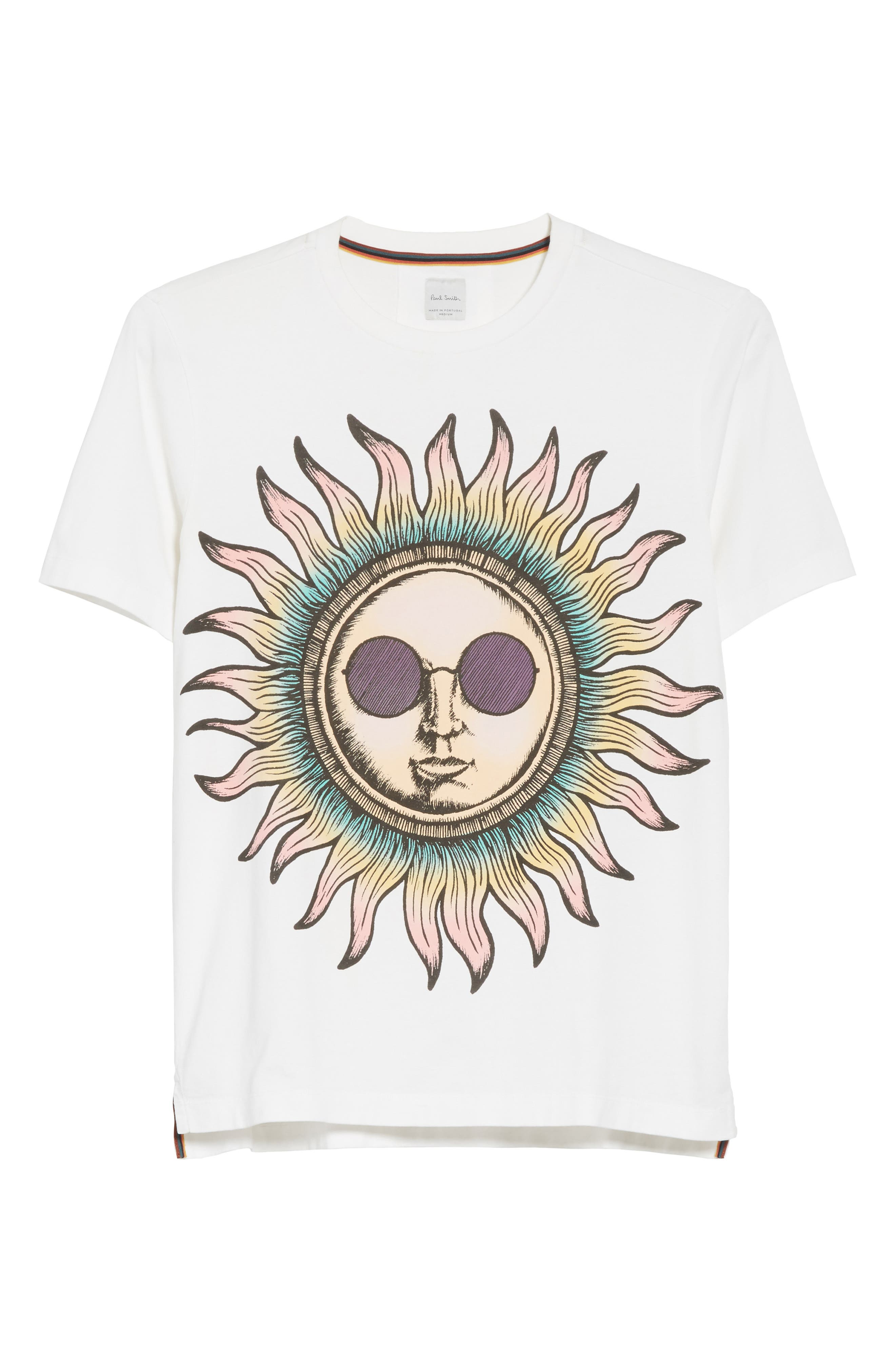 Psychedelic Sun Graphic T-Shirt,                             Alternate thumbnail 6, color,                             White