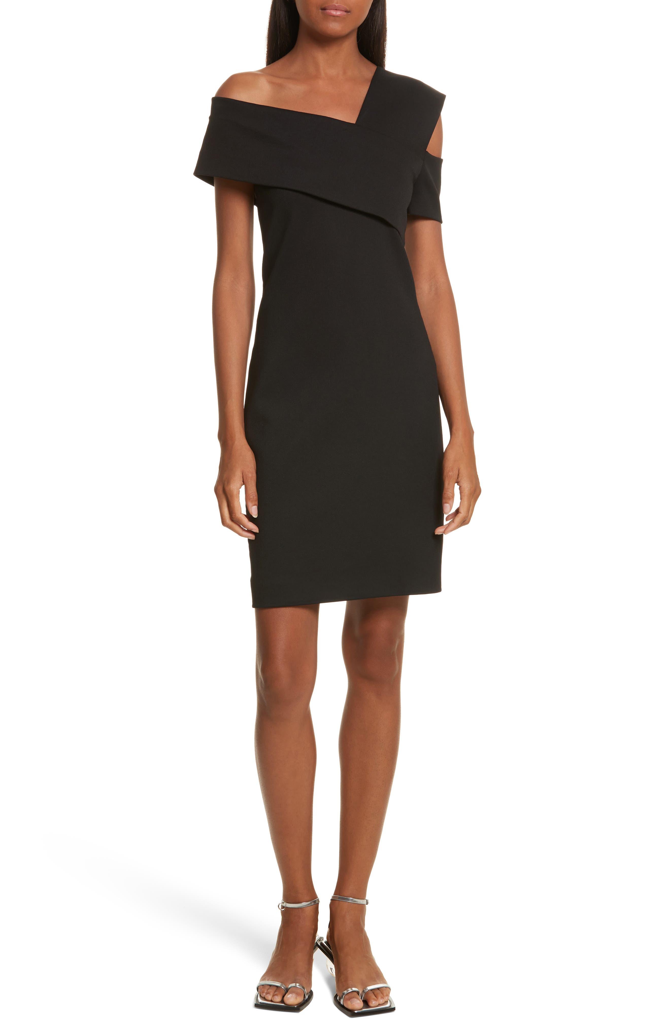 Asymmetrical Off the Shoulder Scuba Dress,                         Main,                         color, Black