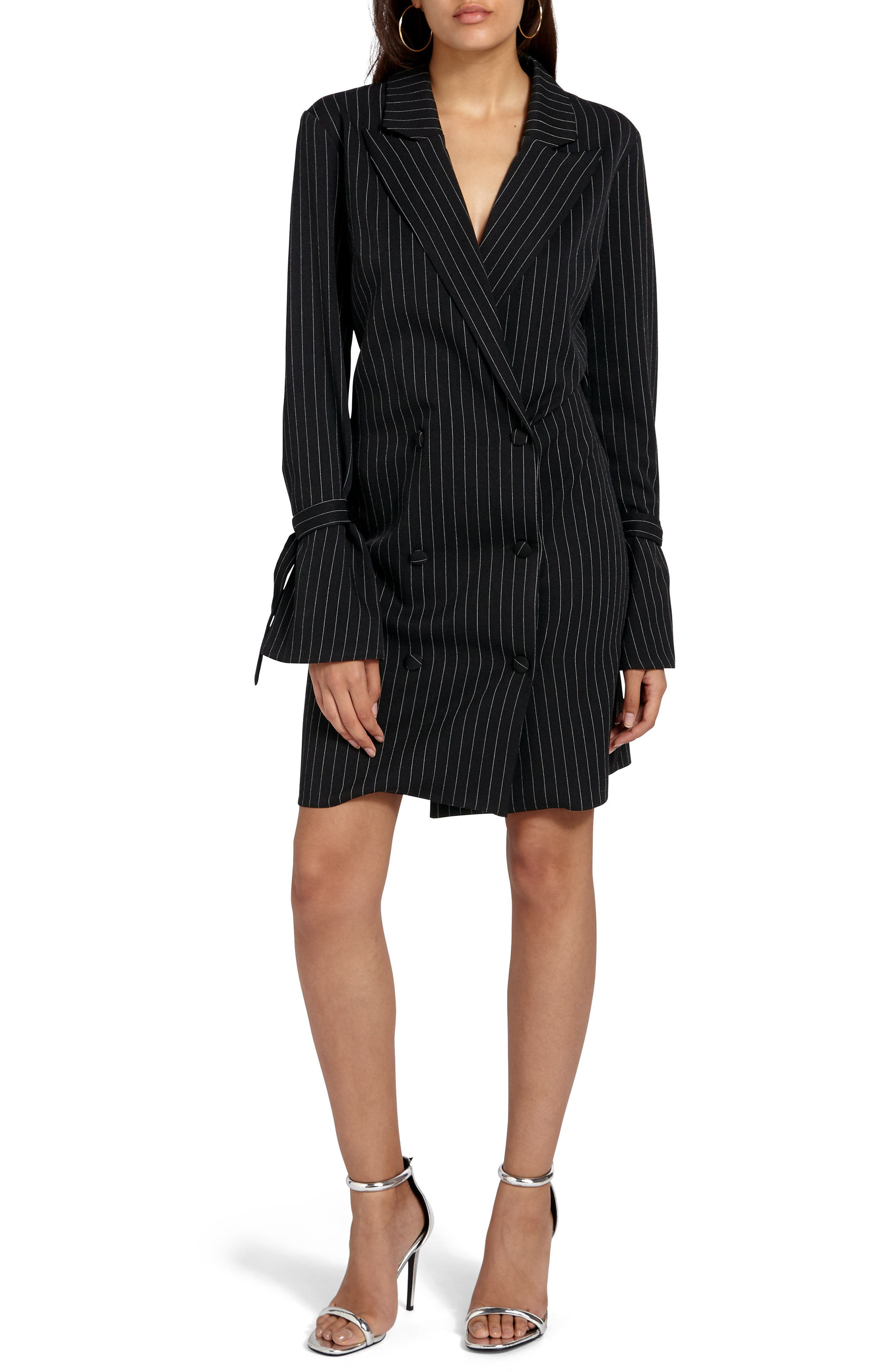 Double Breasted Suit Dress,                         Main,                         color, Black