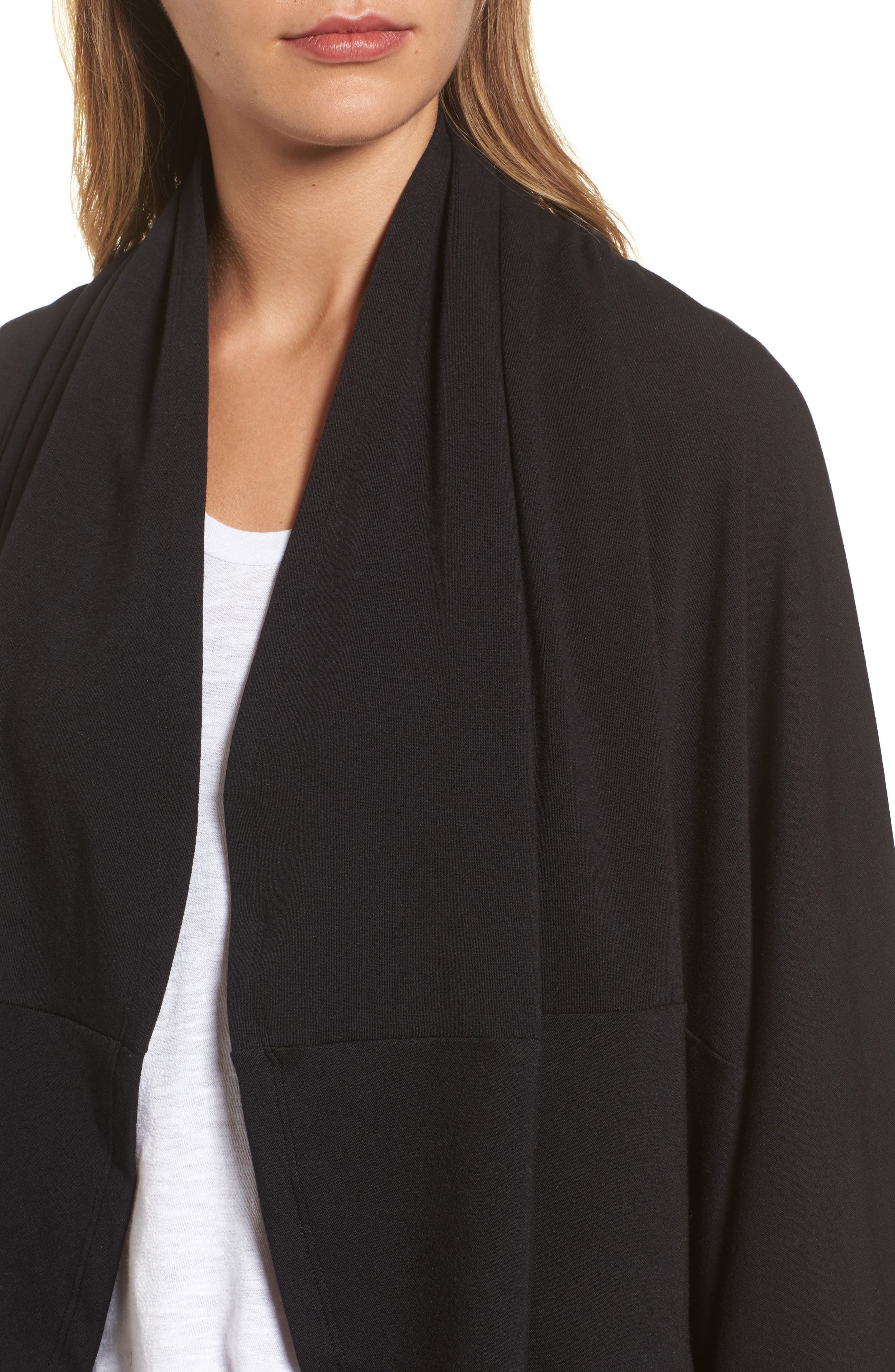Cocoon Knit Midi Cardigan,                             Alternate thumbnail 4, color,                             Black