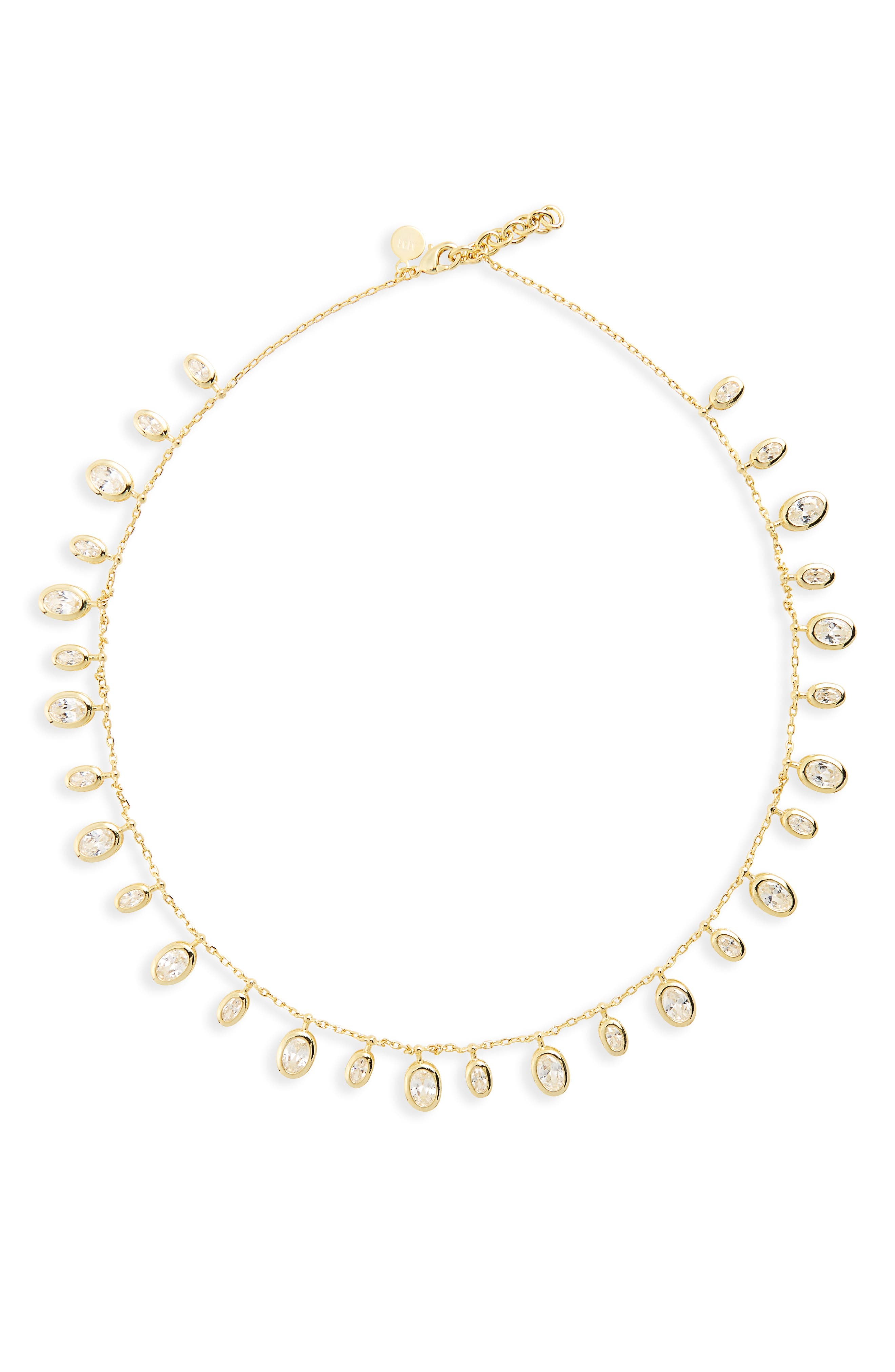 Tracey Cubic Zirconia Collar Necklace,                             Alternate thumbnail 2, color,                             Gold