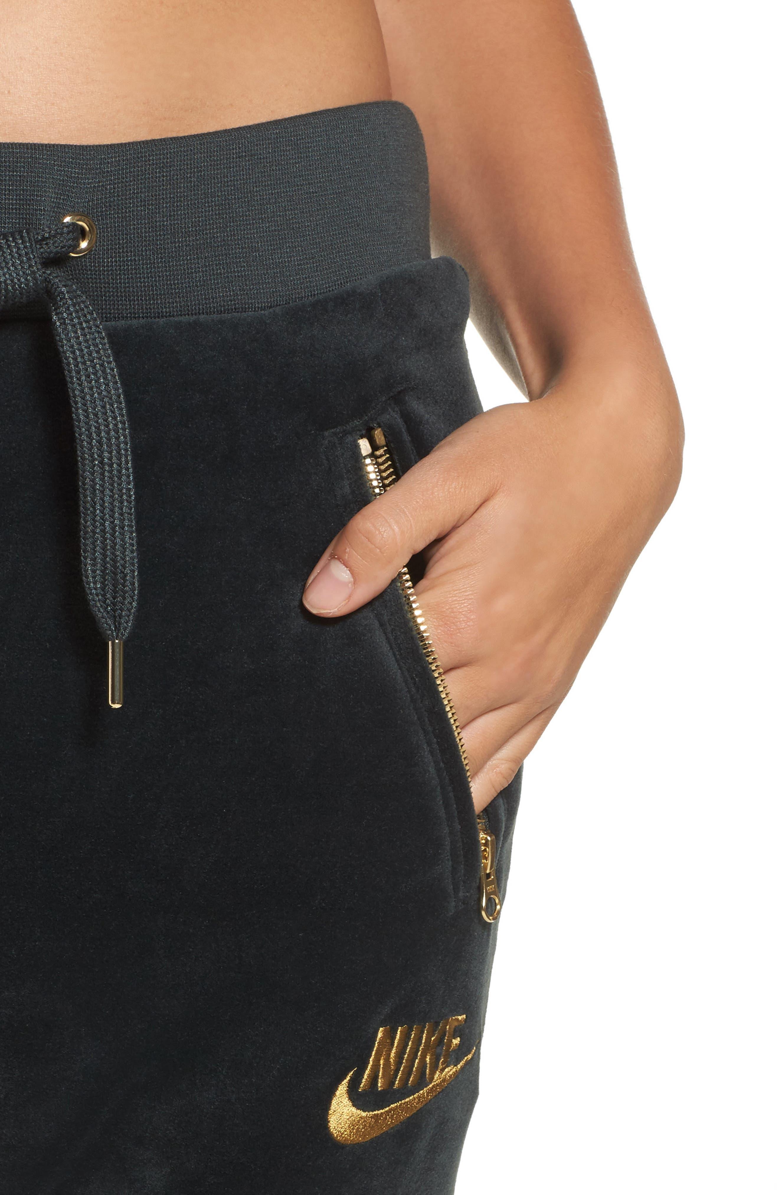 Alternate Image 4  - Nike Velour Drawstring Capri Pants